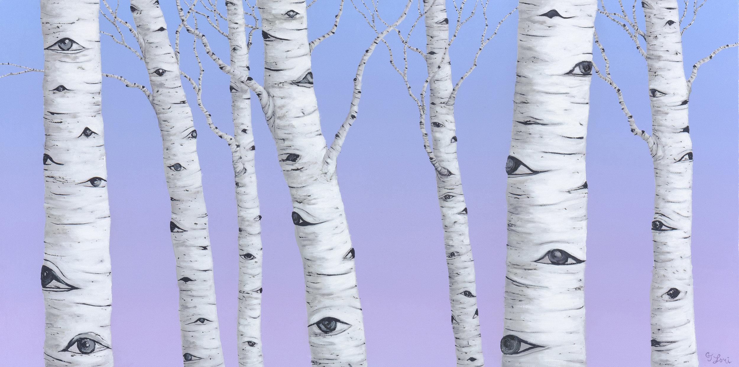 """Birch Spies , oil on linen, 15"""" x 30"""", $2,800"""