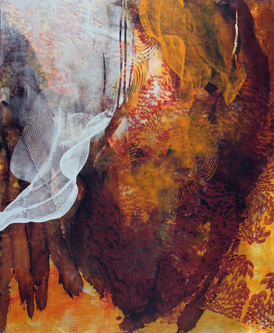 """Untitled 1683,  screen printed oil and wax on linen over panel, 34"""" x 28"""", $2,800"""
