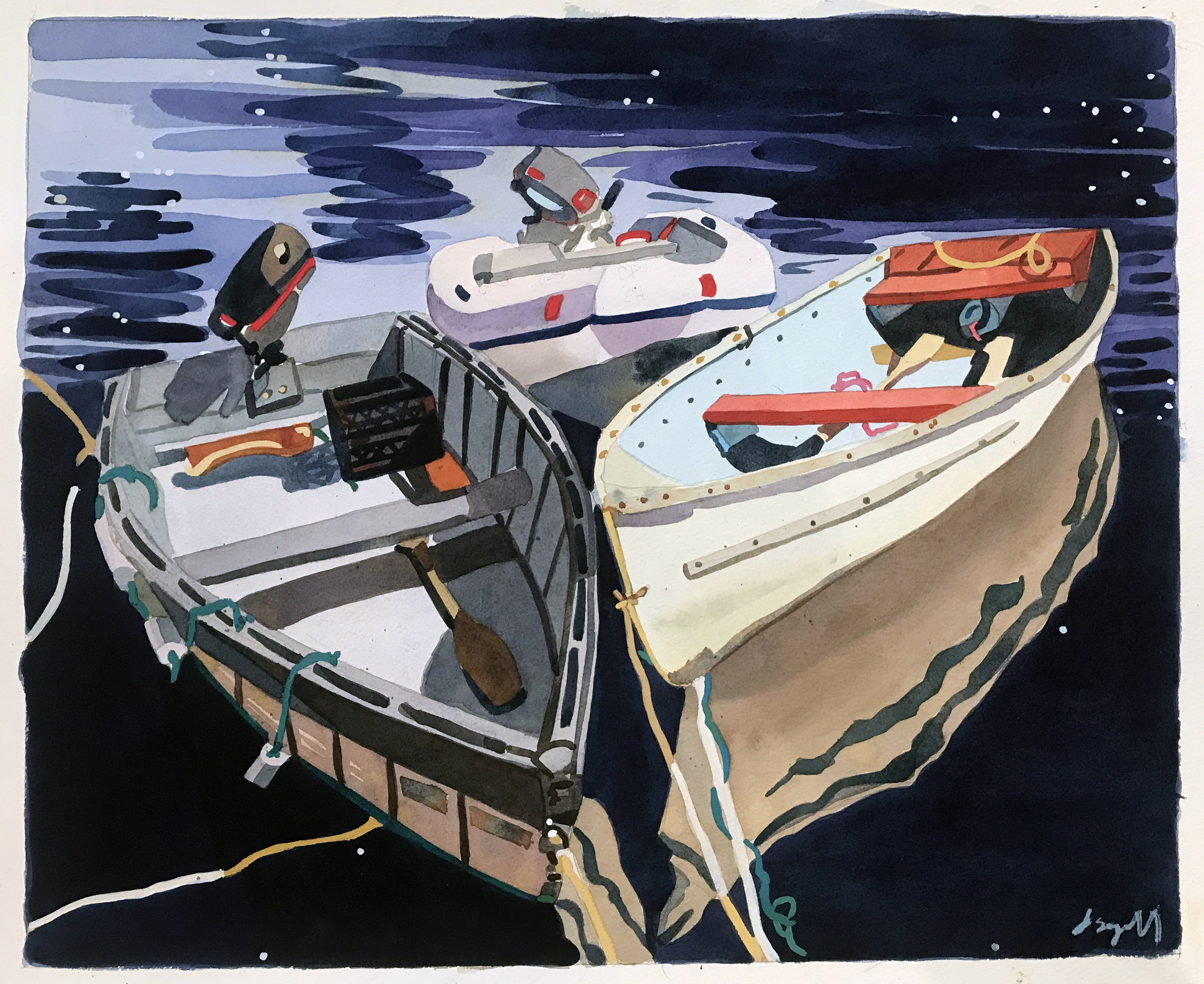 """Rowboats at Night , watercolor on paper, 20 3/4"""" x 24 3/4"""" framed, $1,800"""