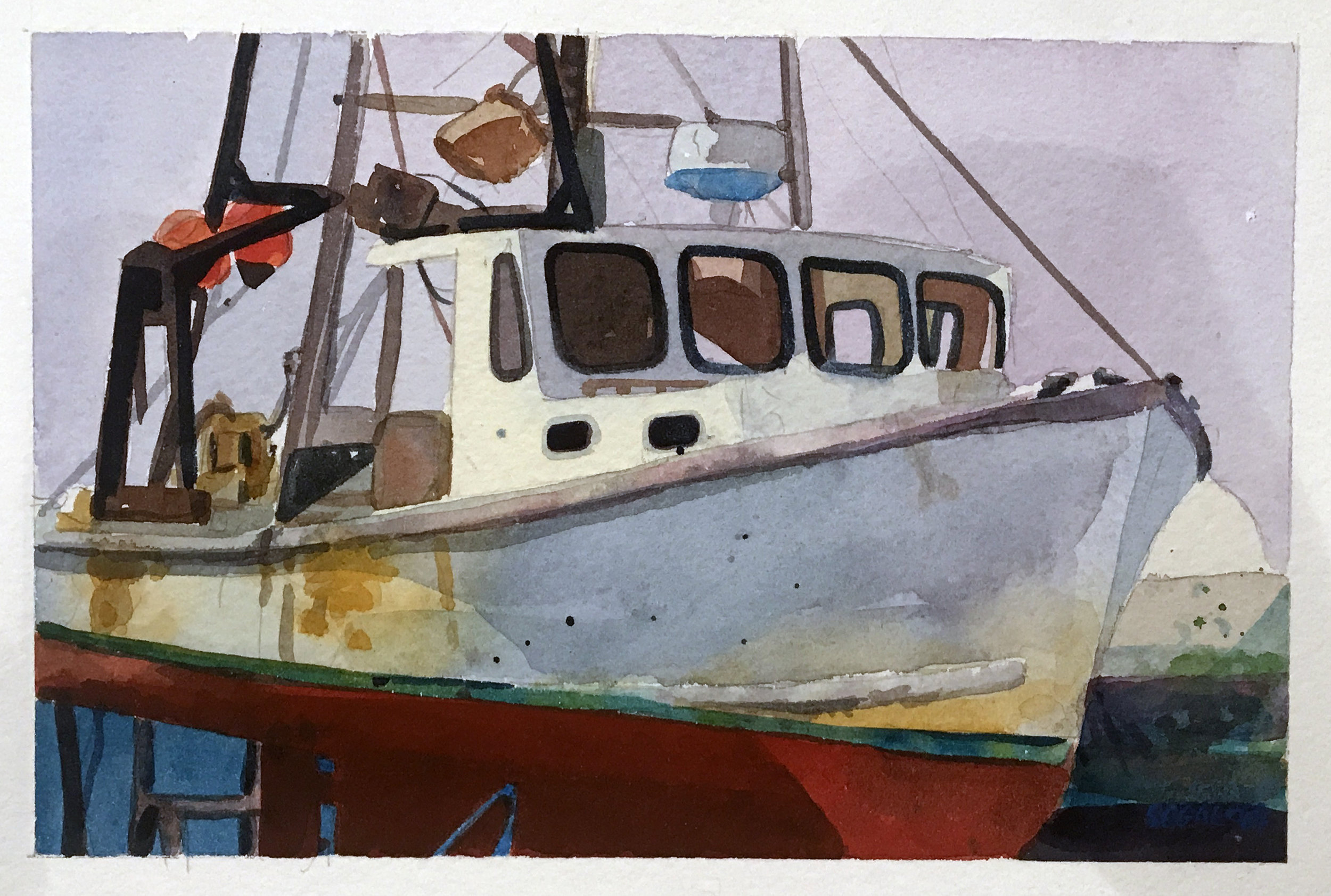 "Shellfishing Boat, Chatham , watercolor on paper, 12"" x 14"", $475"