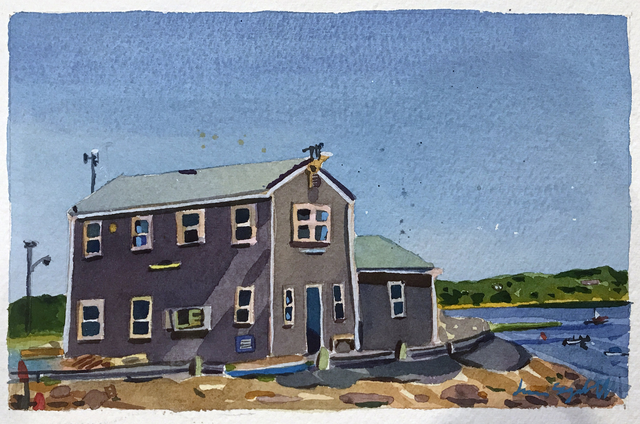 """Dock House, Wellfleet Harbor , watercolor on paper, 12"""" x 14"""", $475"""