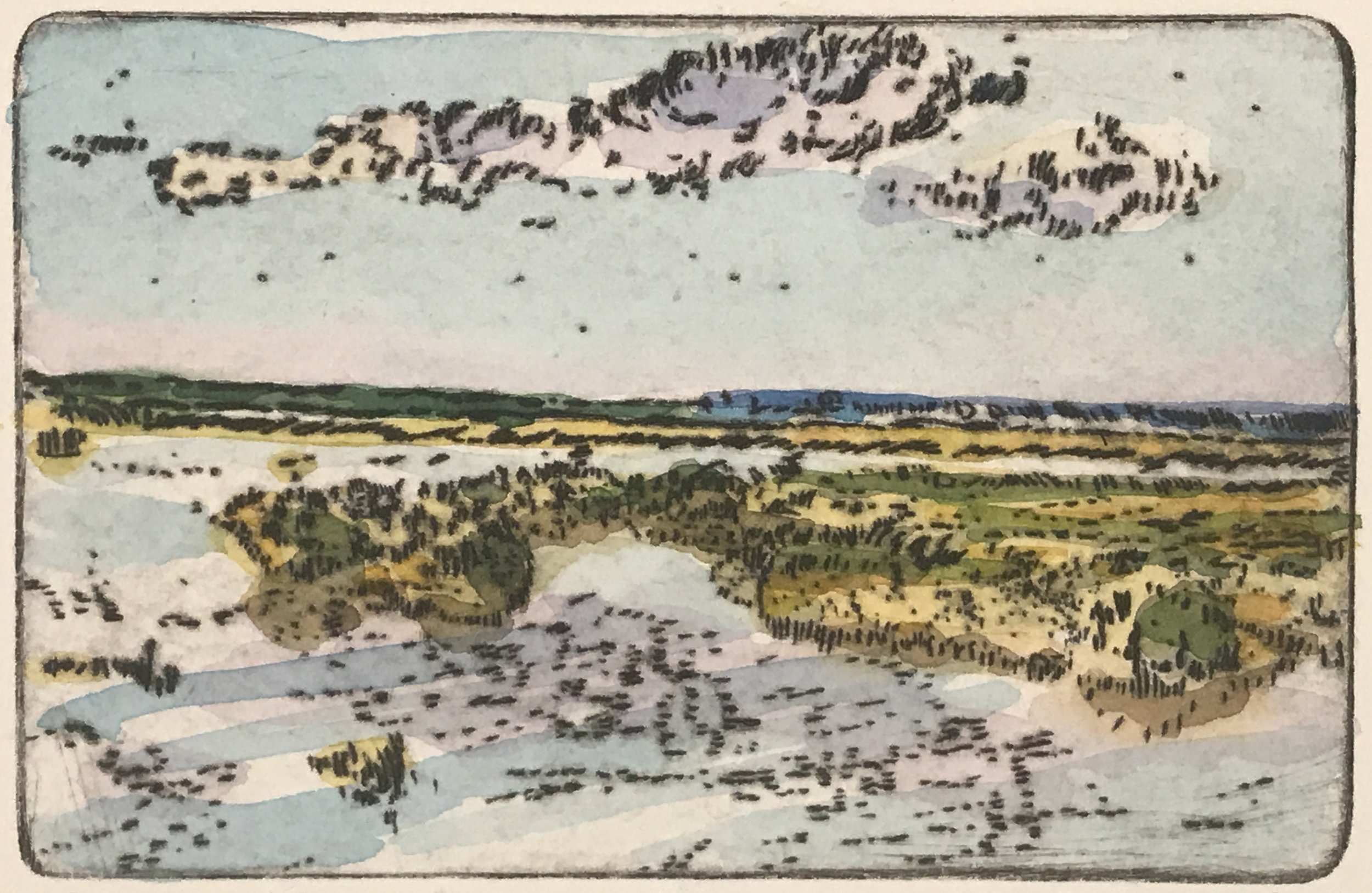 """Cape Marsh , variable edition, drypoint and watercolor on paper, 11"""" x 14"""", $350"""