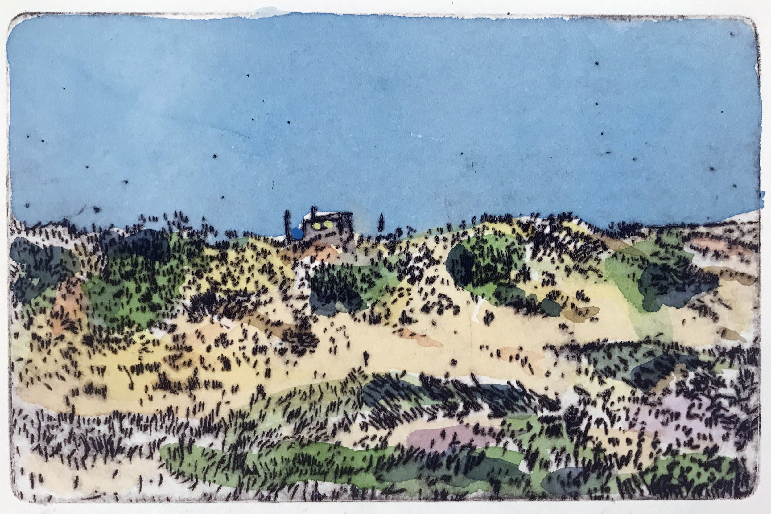 """Dune Shack I , variable edition, drypoint and watercolor on paper, 11"""" x 14"""", $350"""