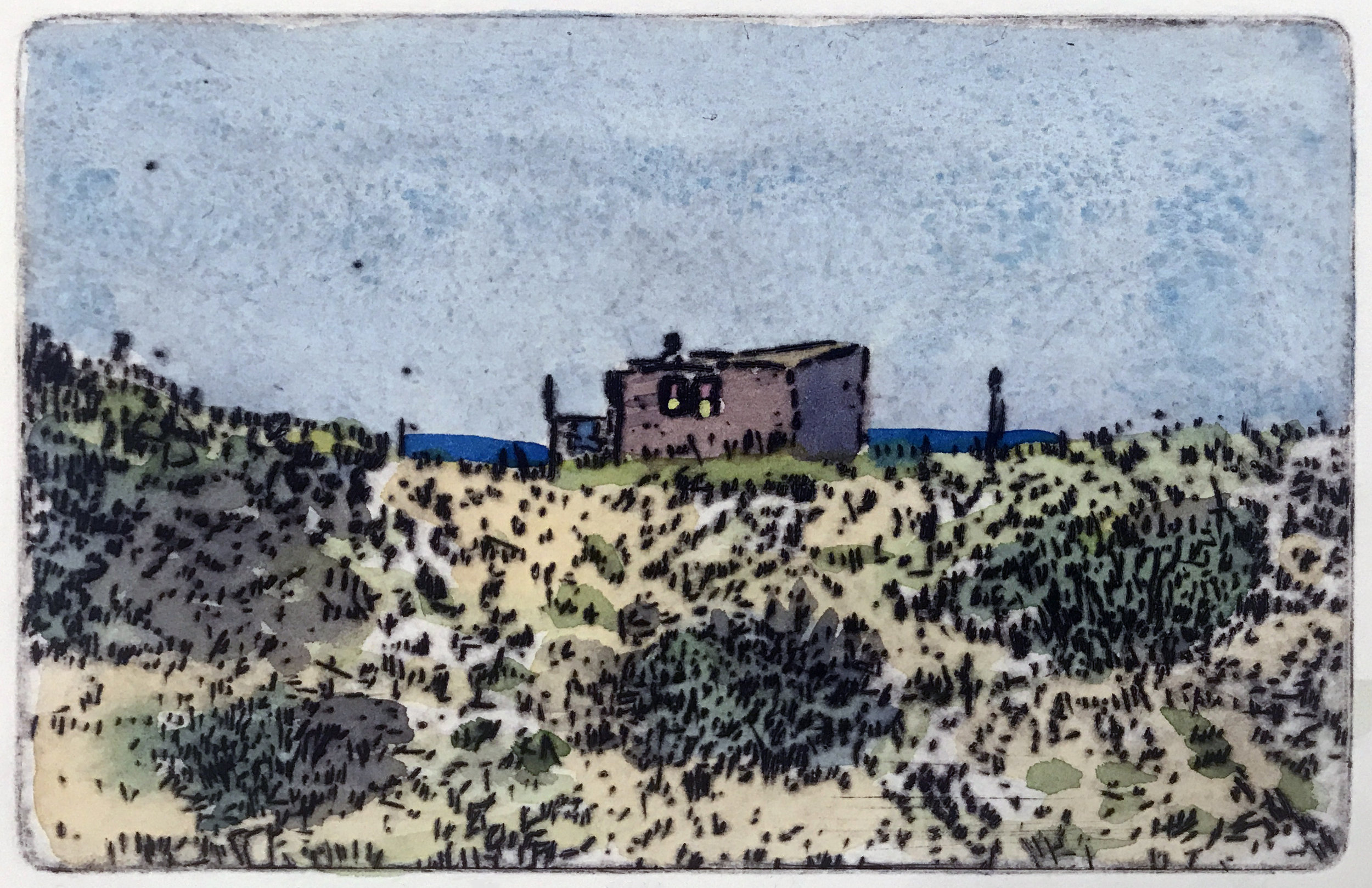 """Dune Shack 2 , variable edition, drypoint and watercolor on paper, 11"""" x 14"""", $350"""
