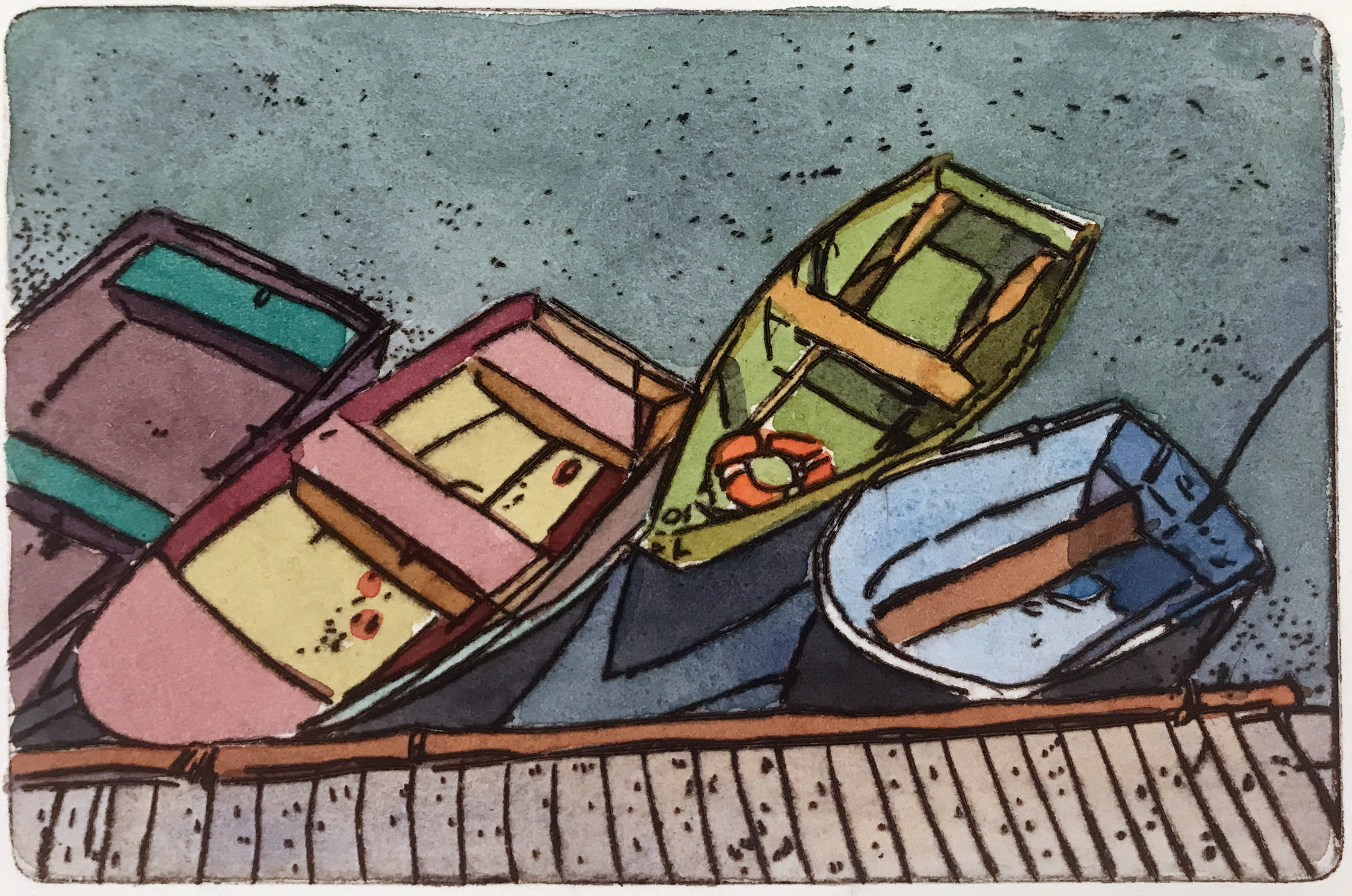 """Rowboats , variable edition, drypoint and   watercolor on paper, 11"""" x 14"""", $350"""