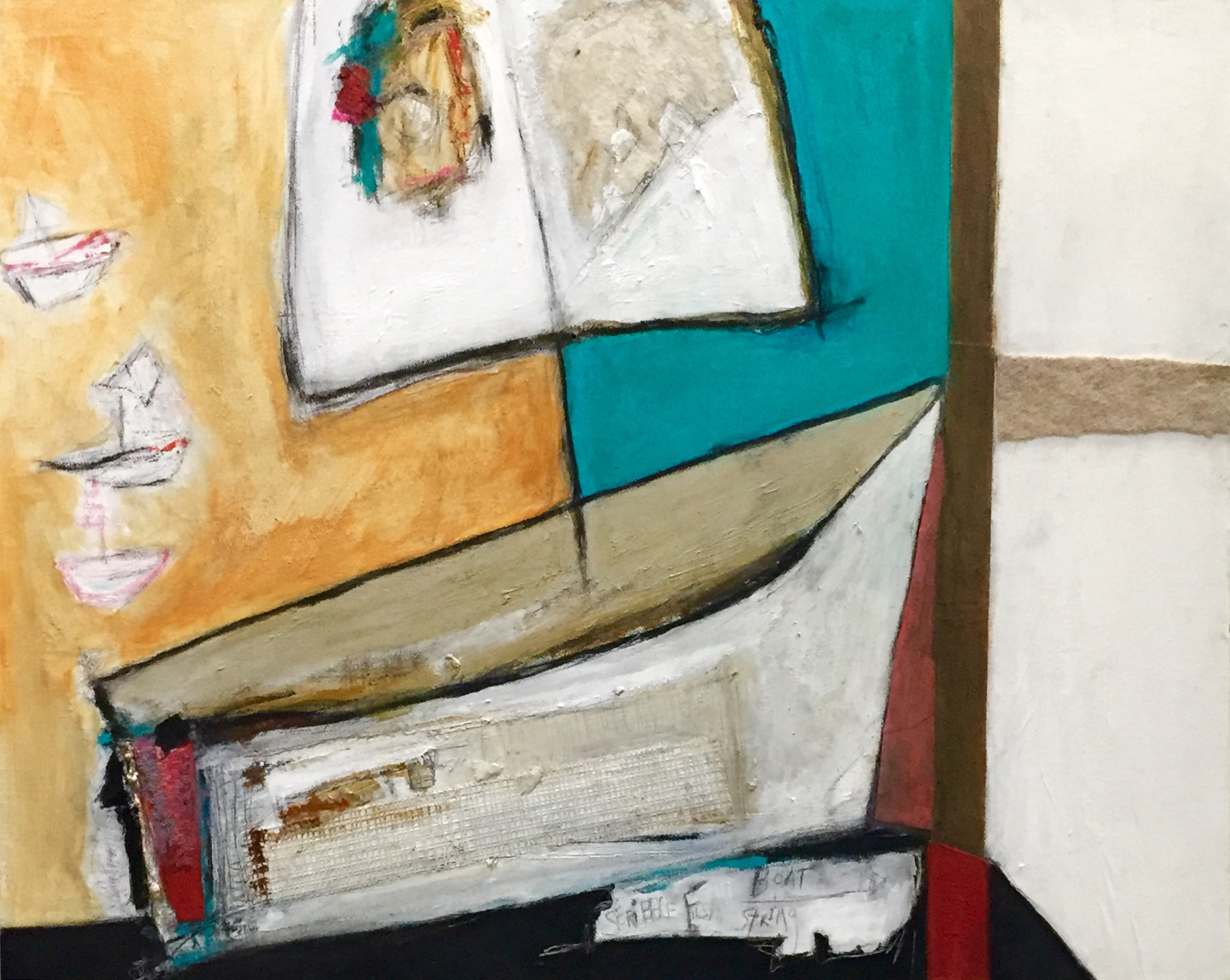 """A Boat for Jacob , oil, acrylic, pencil, pastel, crayon, felt, sequins, drywall tape, rice paper, sandpaper, string, tar, shellac on canvas, 24"""" x 30"""", $2,000"""