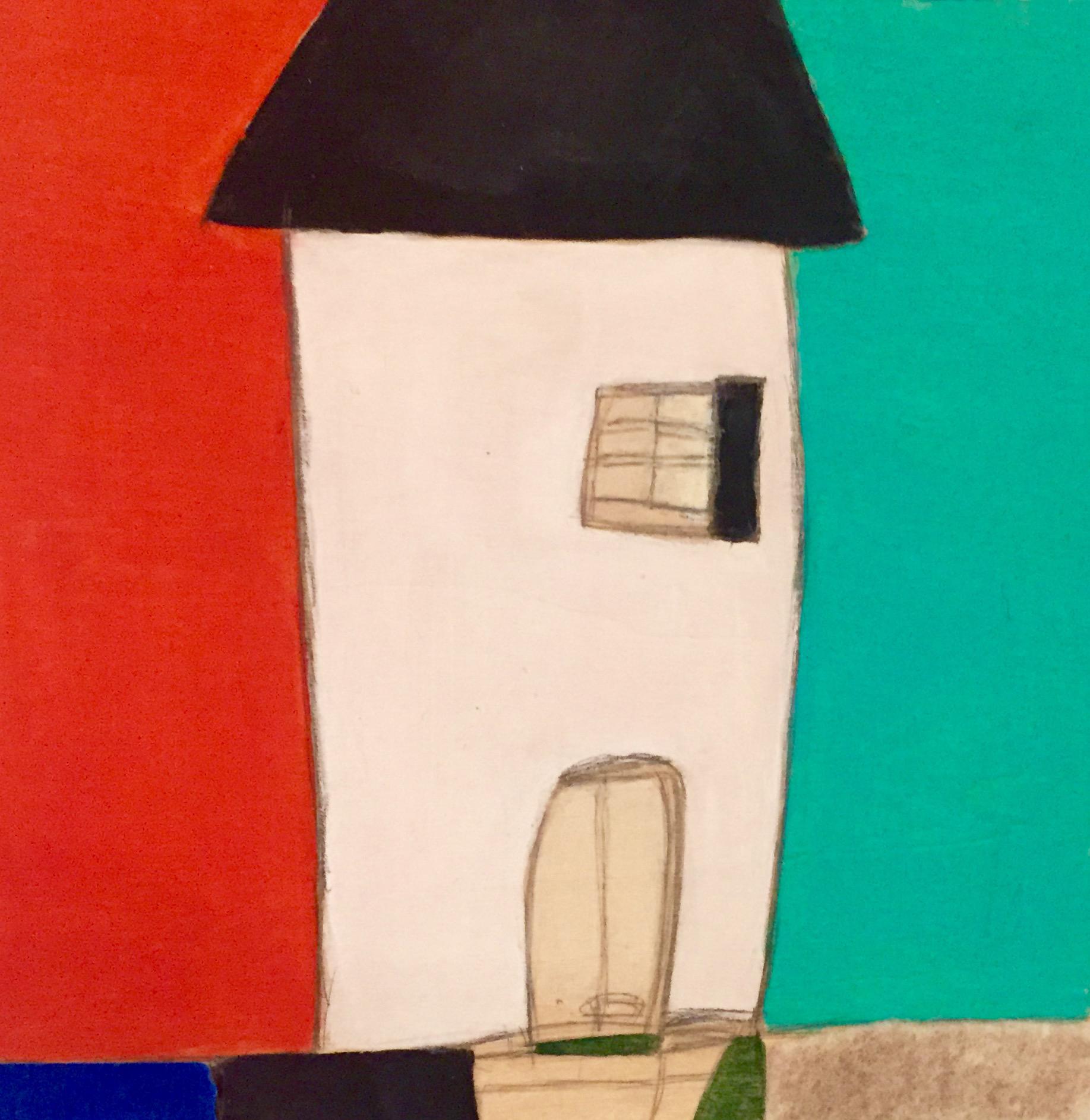 "Beach House II , oil, acrylic, pencil, pastel, crayon, felt, tar, shellac on wood, 6"" x 6"", sold"
