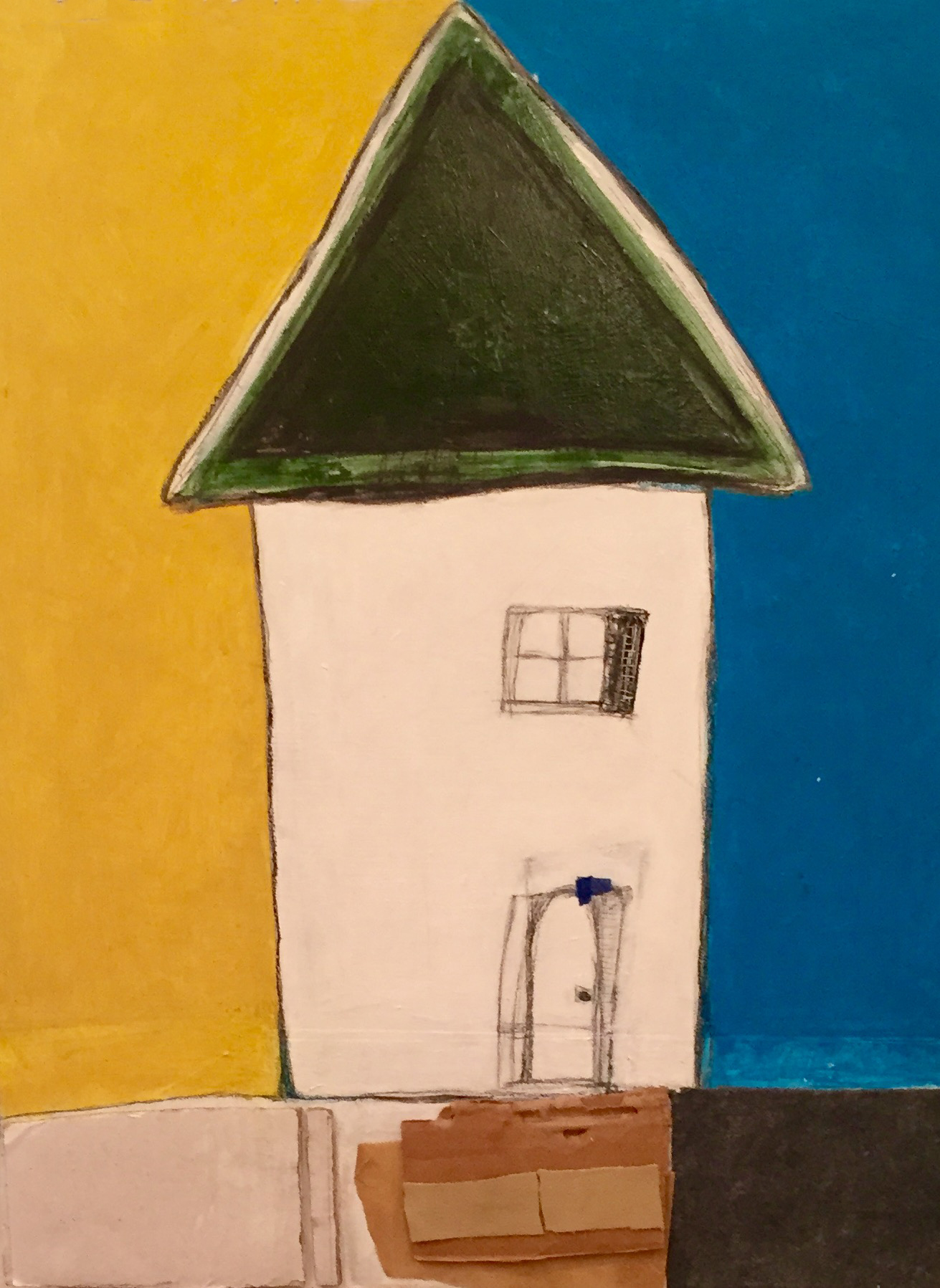 """House with Green Roof , oil, acrylic, pencil, pastel, crayon, felt, cardboard, leather, painter's tape, tar, shellac on wood, 20"""" x 16"""", $1,000"""