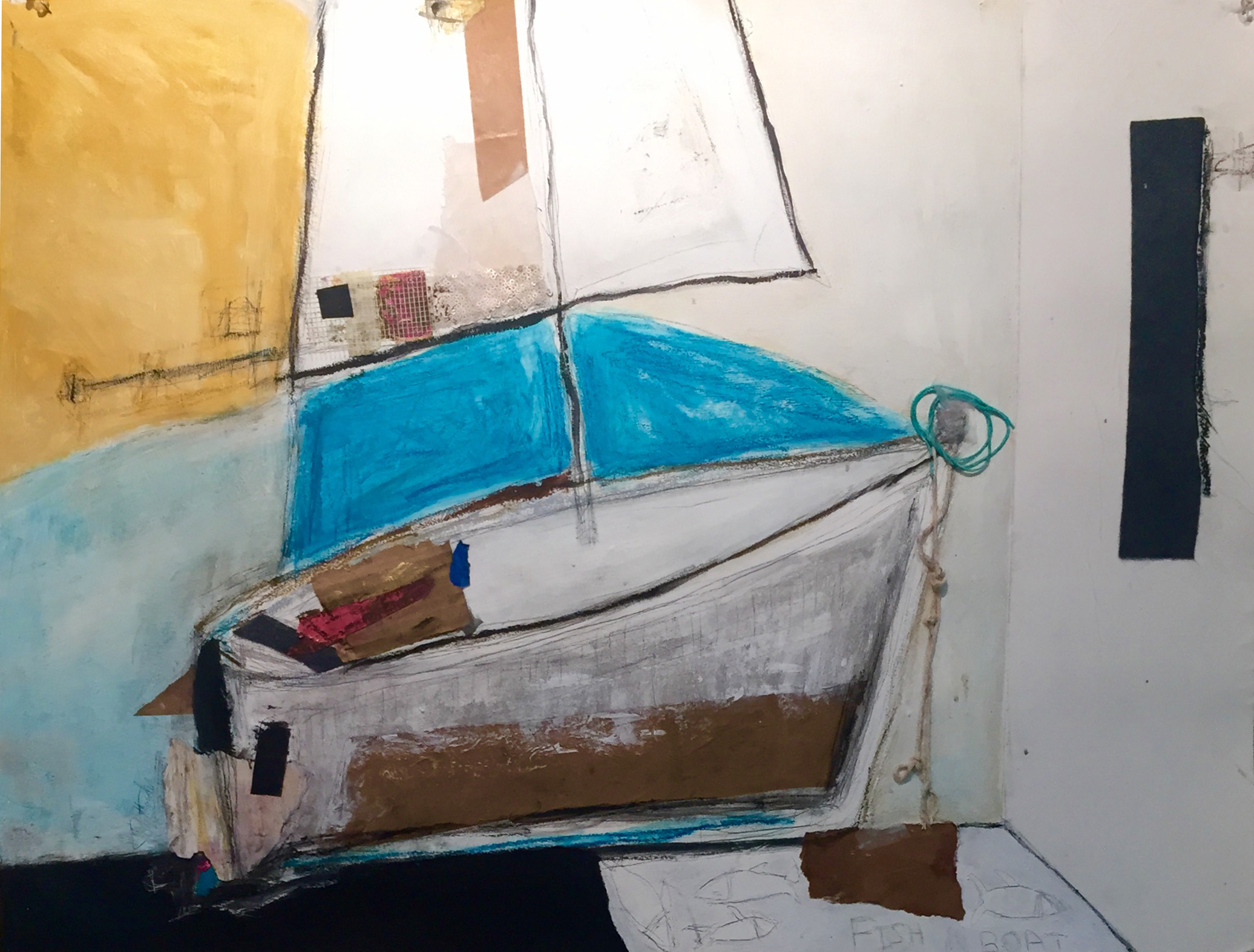 """Tethered , oil, acrylic, pencil, pastel, crayon, felt, electrical tape, painter's tape, rice paper, string, 22 1/2"""" x 30"""", $2,000"""