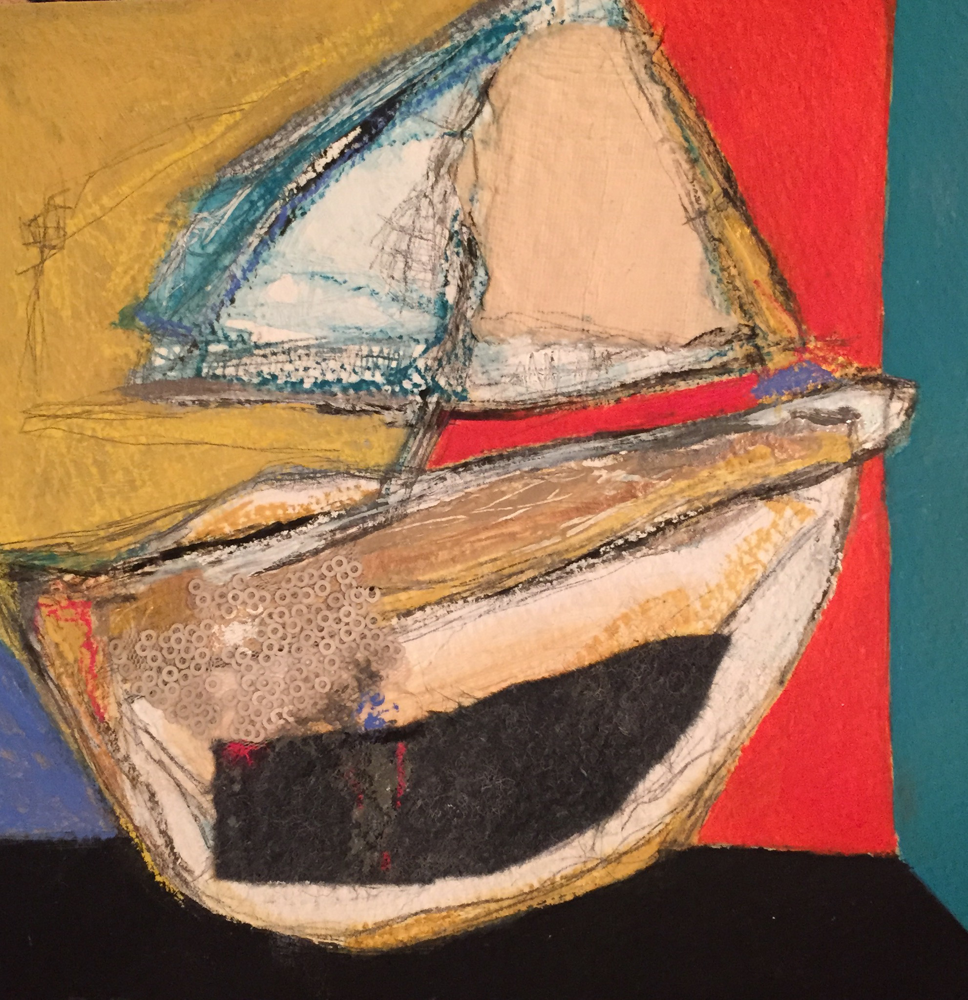 """The Whaler , oil, acrylic, pencil, pastel, crayon, rice paper, felt, sequins, tar, shellac on paper, 11 1/4"""" x 11 1/4"""" framed, $450"""