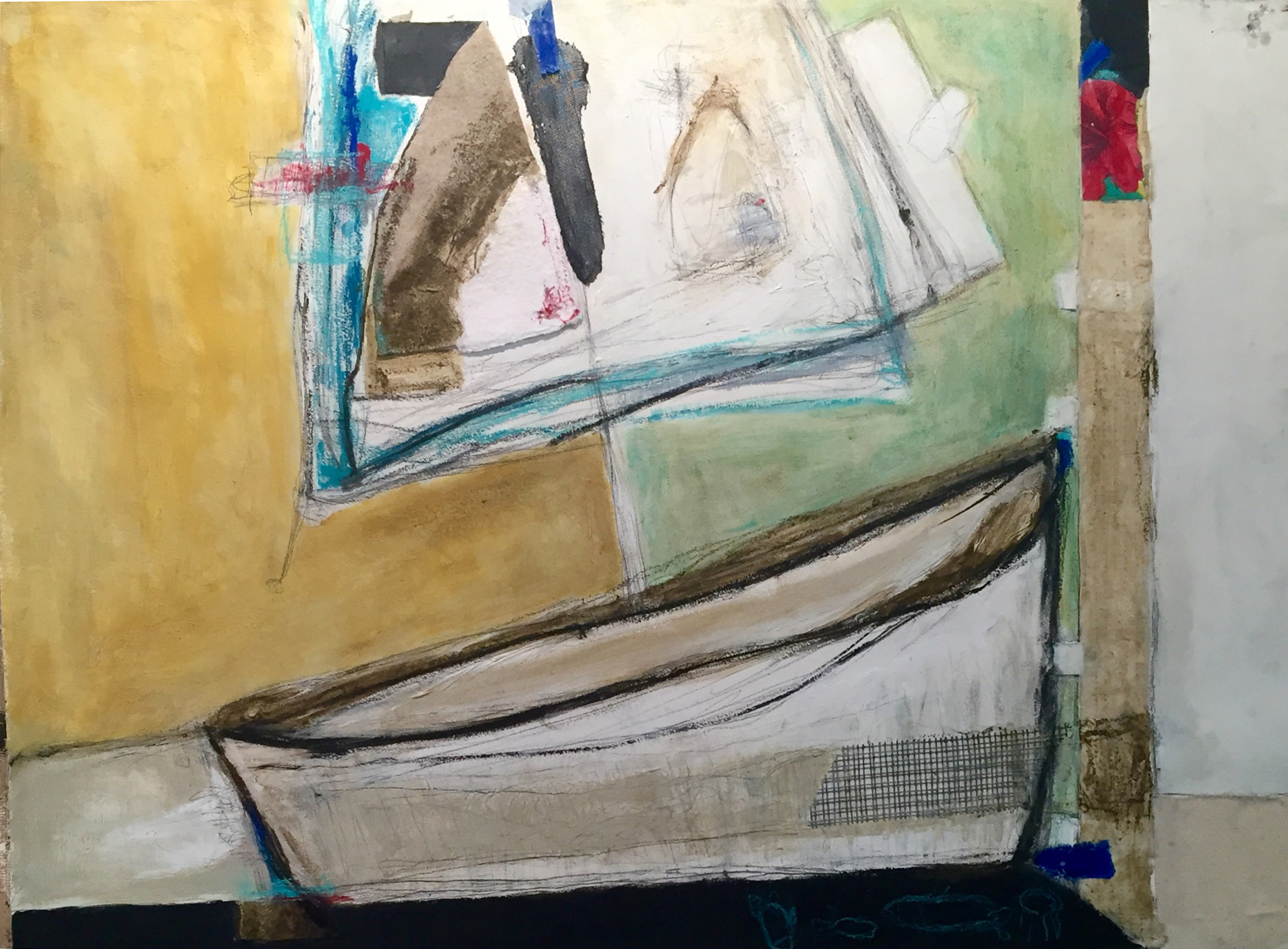 """Castaway , oil, acrylic, pencil, pastel, crayon, felt, drywall tape, tape, painter's tape, rice paper, 32"""" x 39"""" framed, $2,400"""