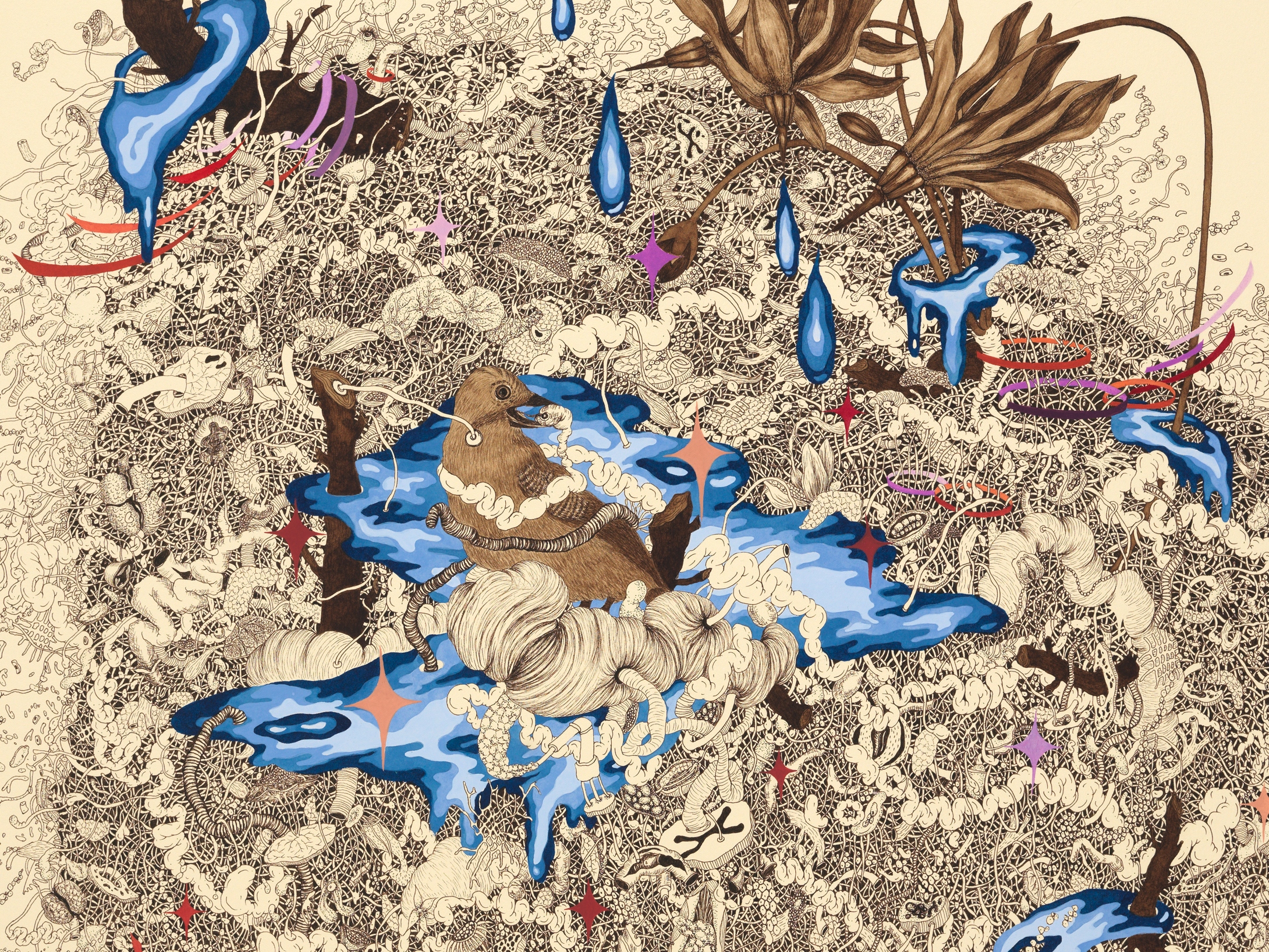 """Detail from  Intueri IV , mineral pigment, micro pigment pen and walnut ink on paper, 32 1/2"""" x 24 1/2"""" framed, $6,000"""
