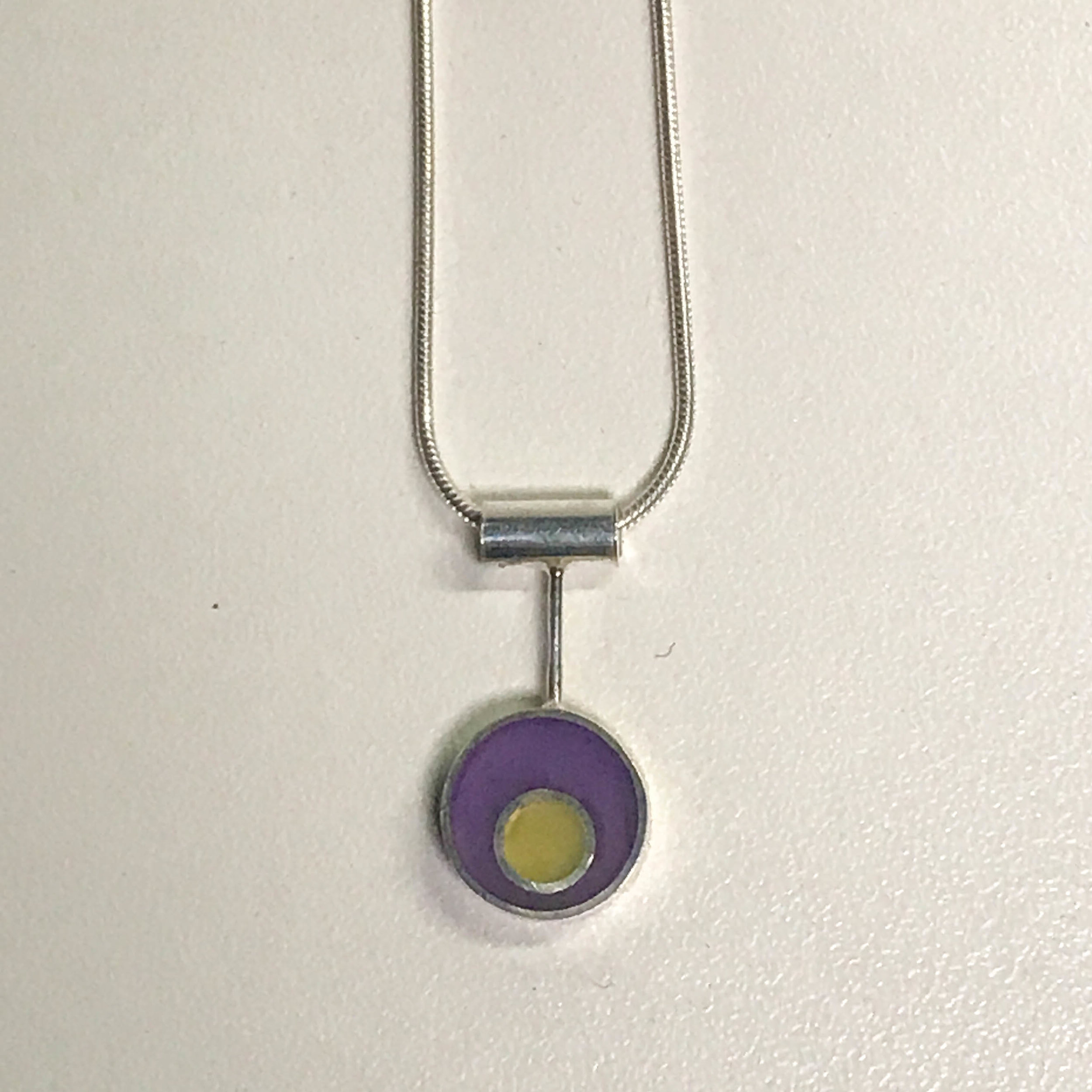 Round pendant drop necklace, sterling silver with resin inlay, sterling silver snake chain, $80