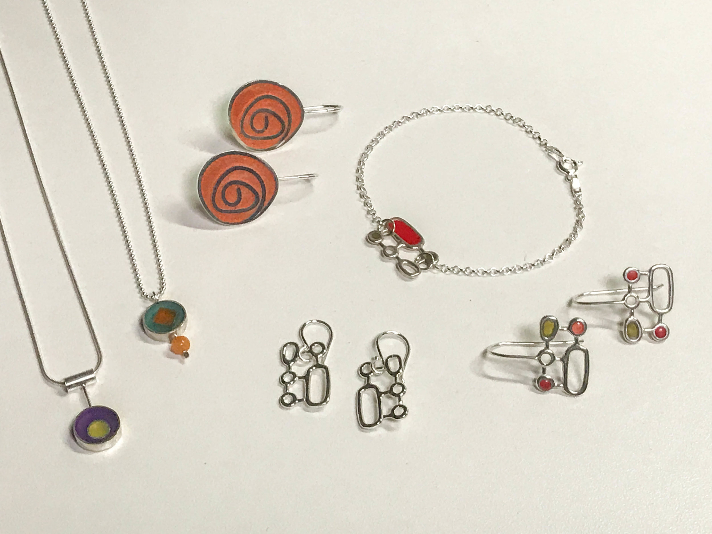 Sterling silver and resin jewelry