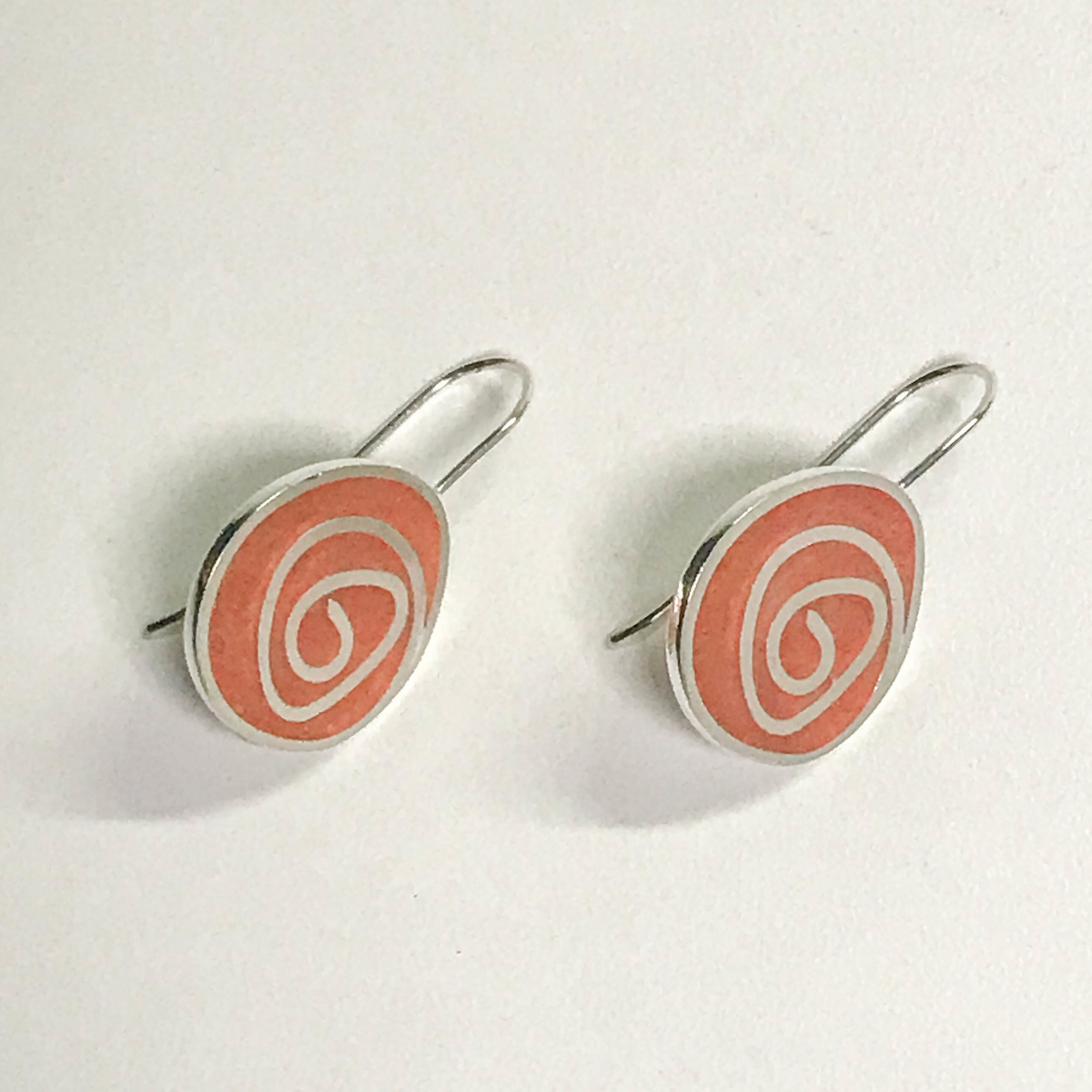 Swirl earrings, sterling silver and resin inlay, $90