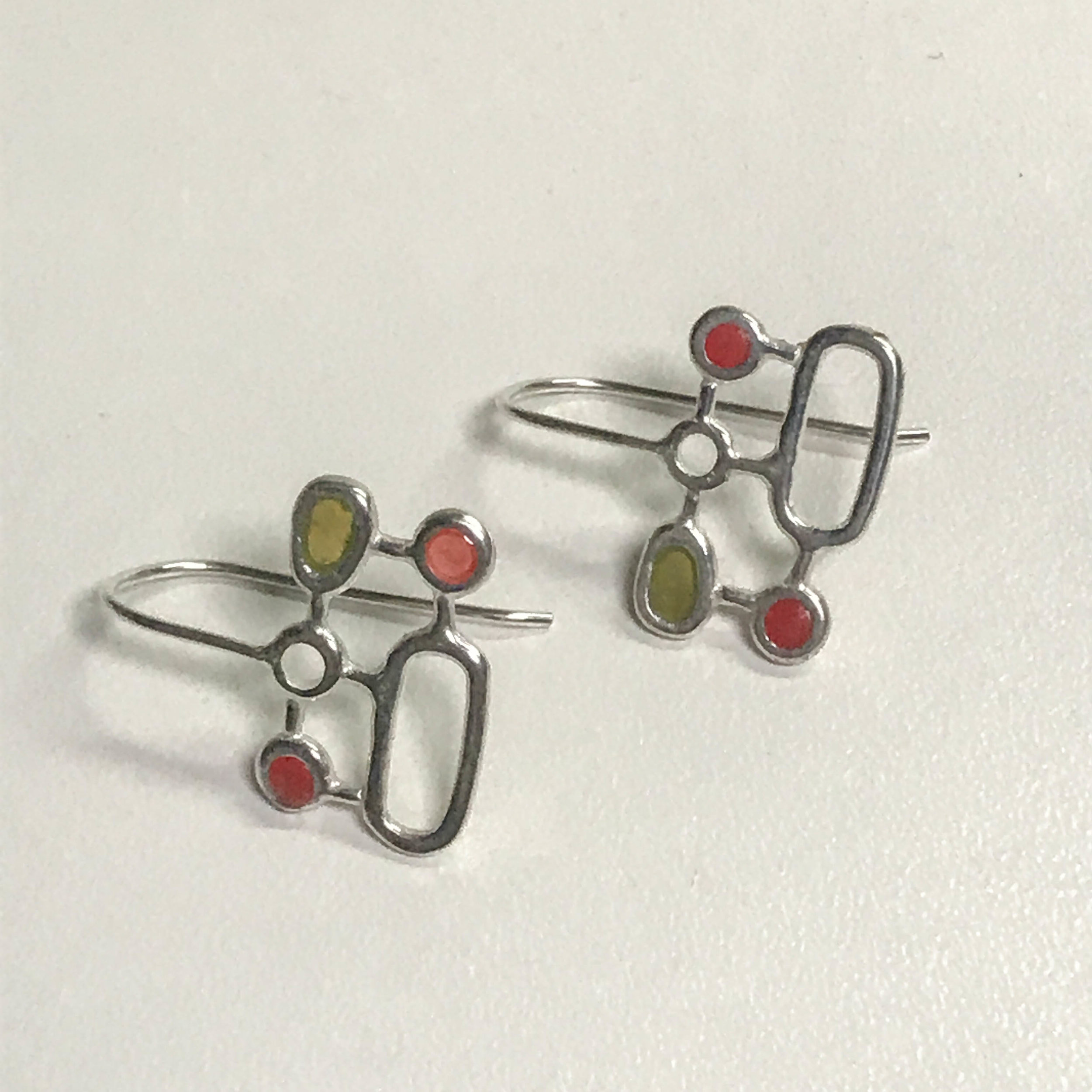 Organic geometric earrings, sterling silver with resin inlay, $80