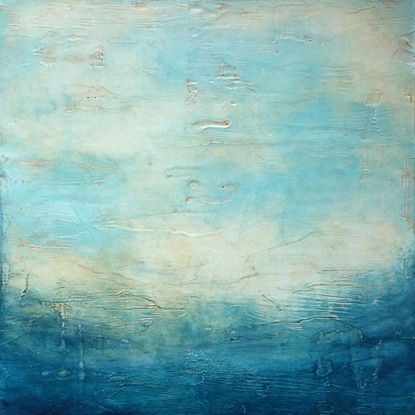 """Linda Cordner ,  Ocean Morning , encaustic and oil on panel, 17"""" x 17"""" framed, $750"""