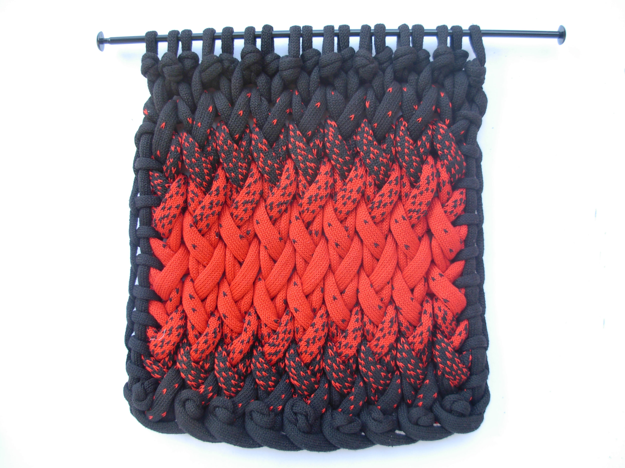 """Double Entendre , knitted cotton yarn, 18"""" x 18"""", $650"""