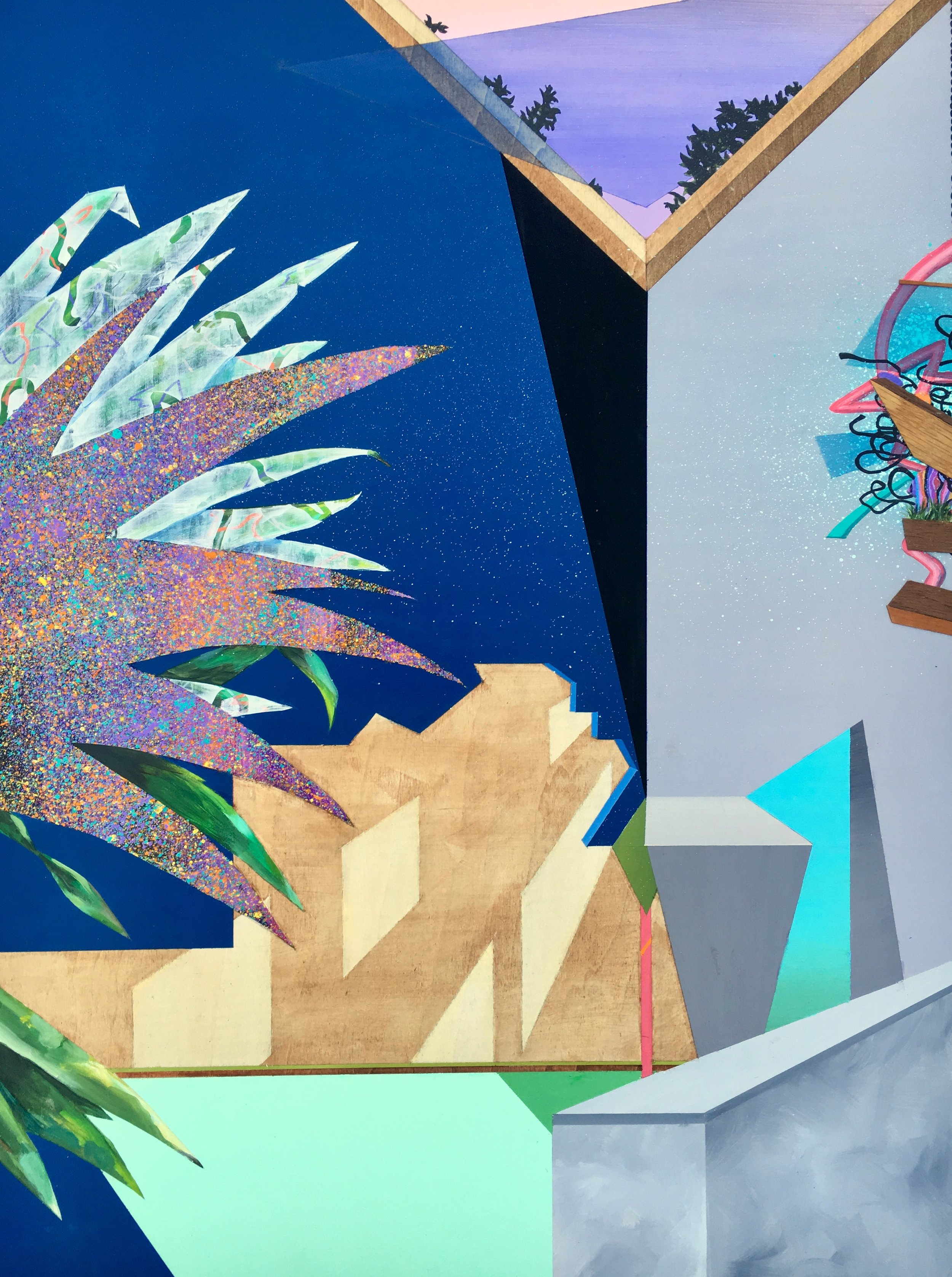 """Lindsey Kocur ,  Southern Exposure , acrylic, ink, spray paint and wood laminate on wood panel, 24"""" x 18"""", $700"""