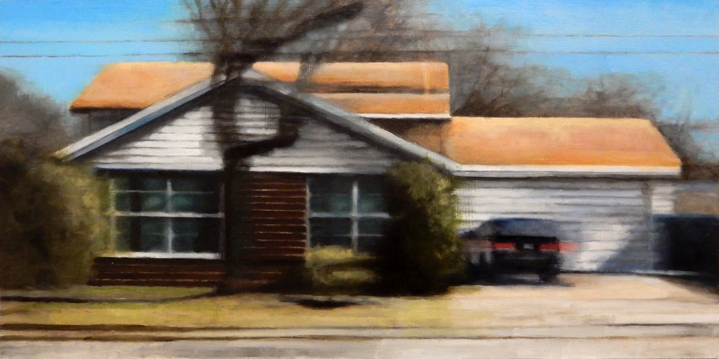 """David Palmquist ,  Rolling Meadows 2 , oil on panel, 11 3/4"""" 17 3/4"""" framed, $700"""