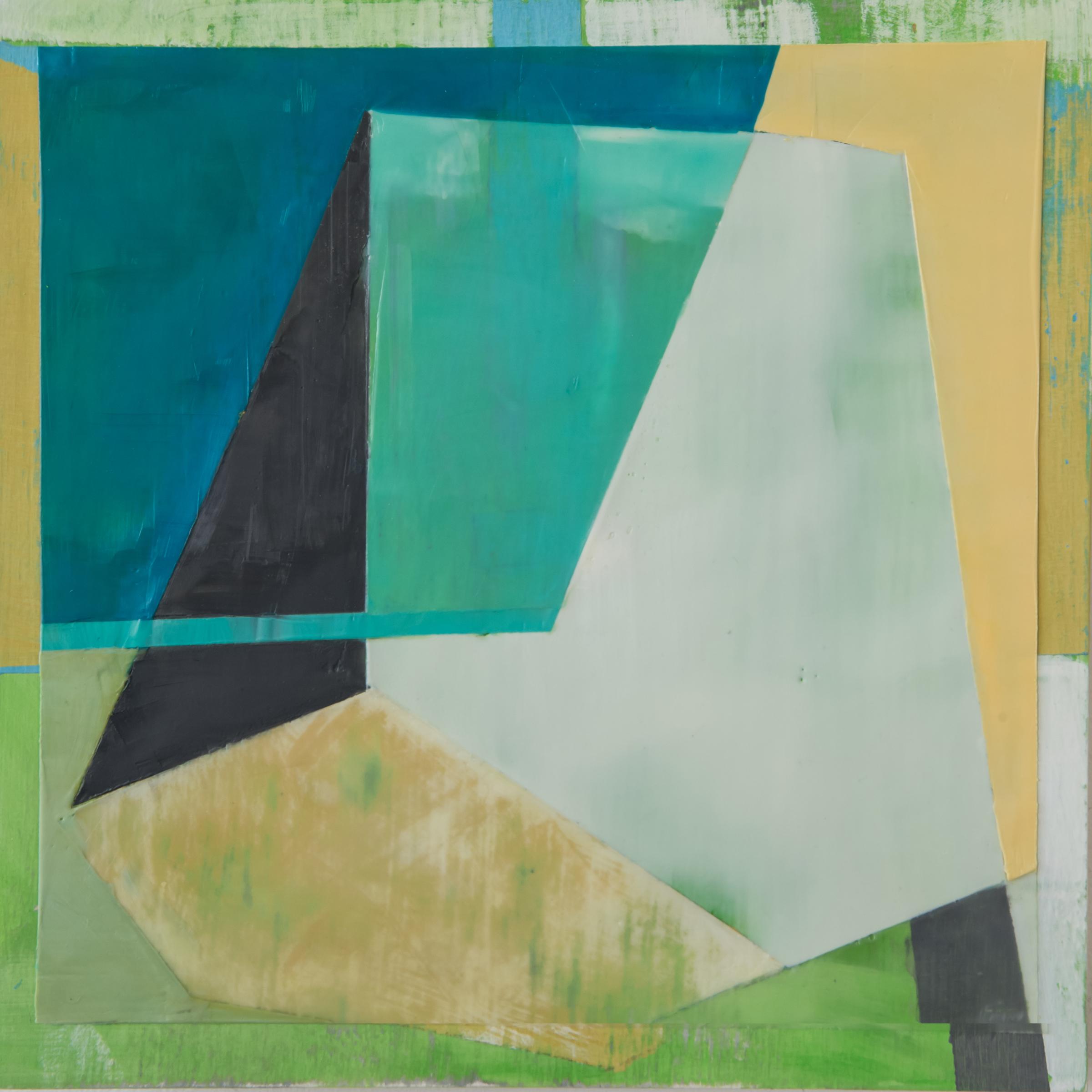 "Lynette Haggard ,  Aegis , encaustic and pigmented gesso on panel, 10"" x 10"", $525"