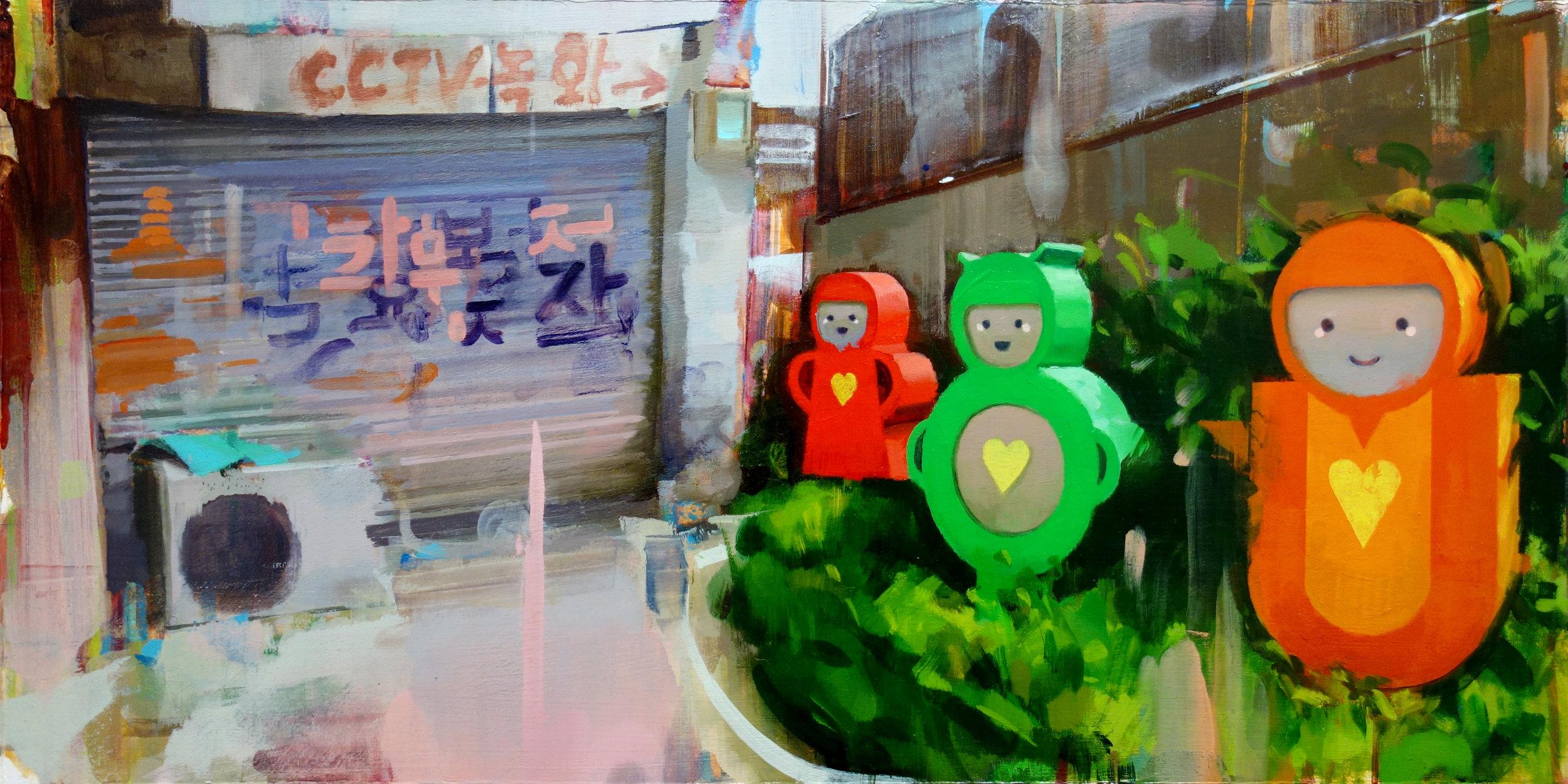 """Mike Ryczek ,  Soft Power , oil and acrylic on panel, 13"""" x 25"""" framed, $1,250"""