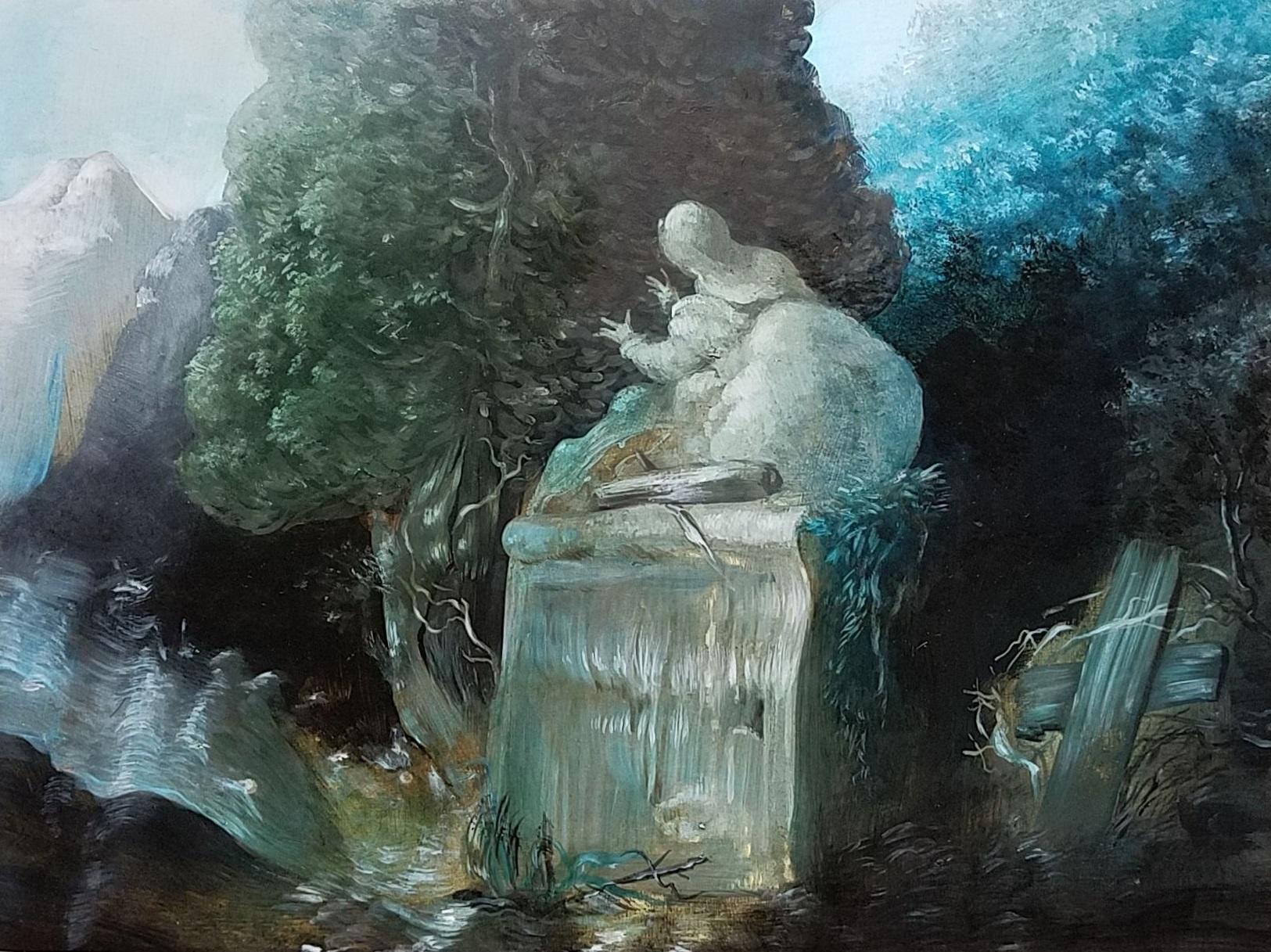 "Nicole Duennebier ,  The Flood , acrylic on panel, 9"" x 12"", sold"