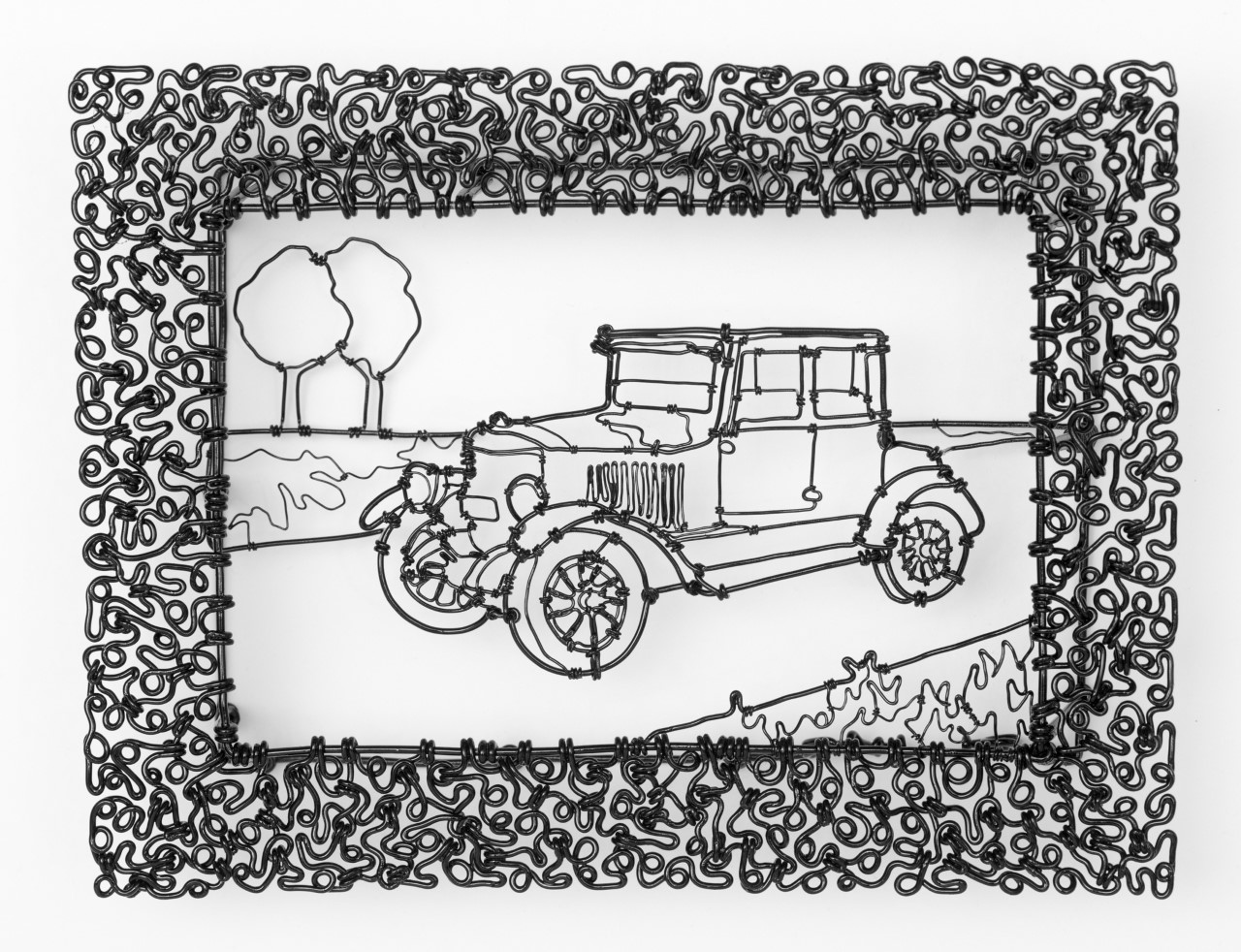 """The 1919 Model 735 Coupe Had a 20 HP Engine , painted steel wire, 6"""" x 8"""" x 1 1/2"""", $475"""