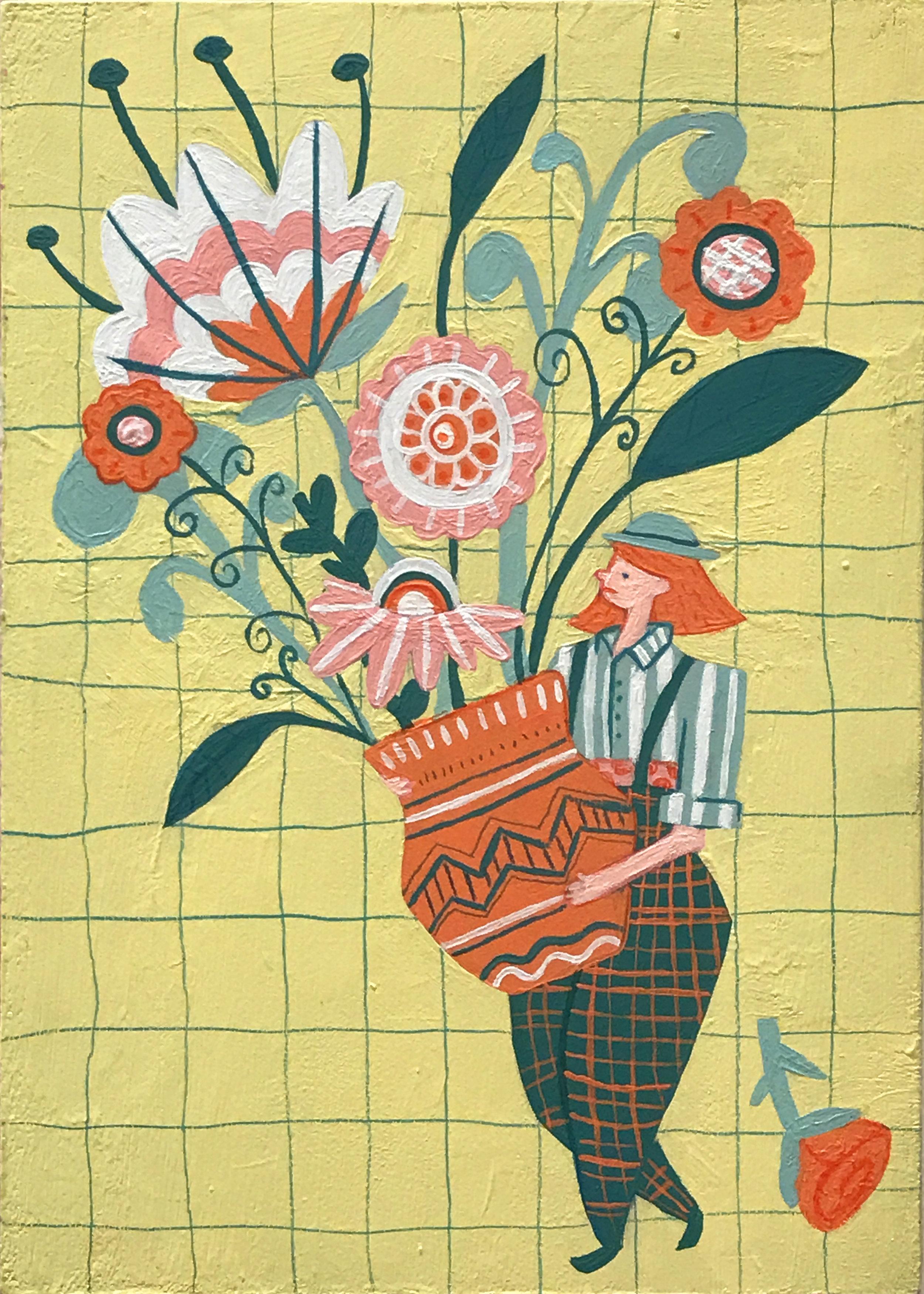 "Erin MacEachern ,  Plenty of Flowers , acryla gouache on panel, 7"" x 5"", $275"