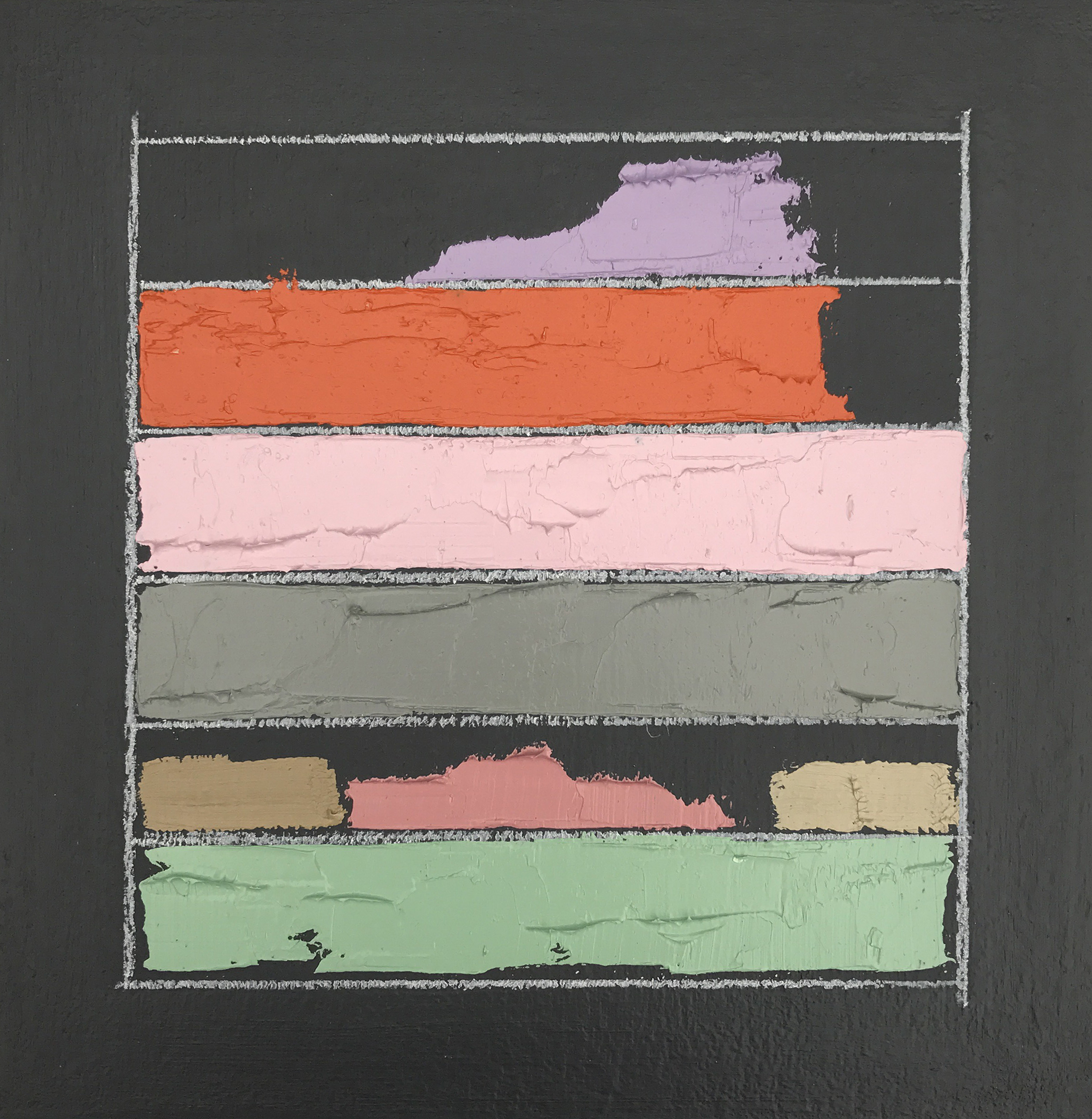 """Color Study No. 1 , oil, acrylic, colored pencil on panel, 6"""" x 6"""", sold"""