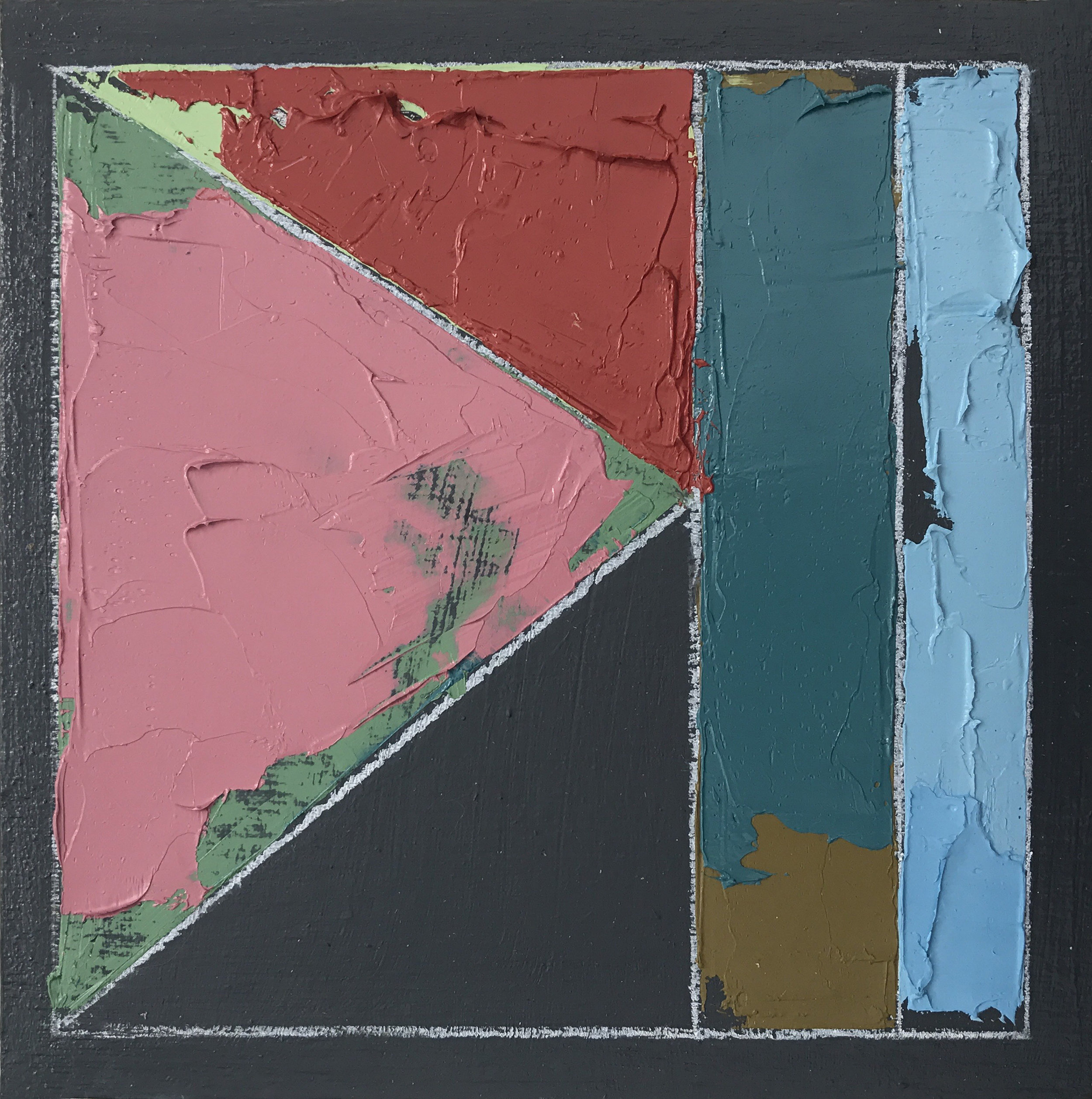 """Color Study No. 4 , oil, acrylic, colored pencil on panel, 6"""" x 6"""",sold"""