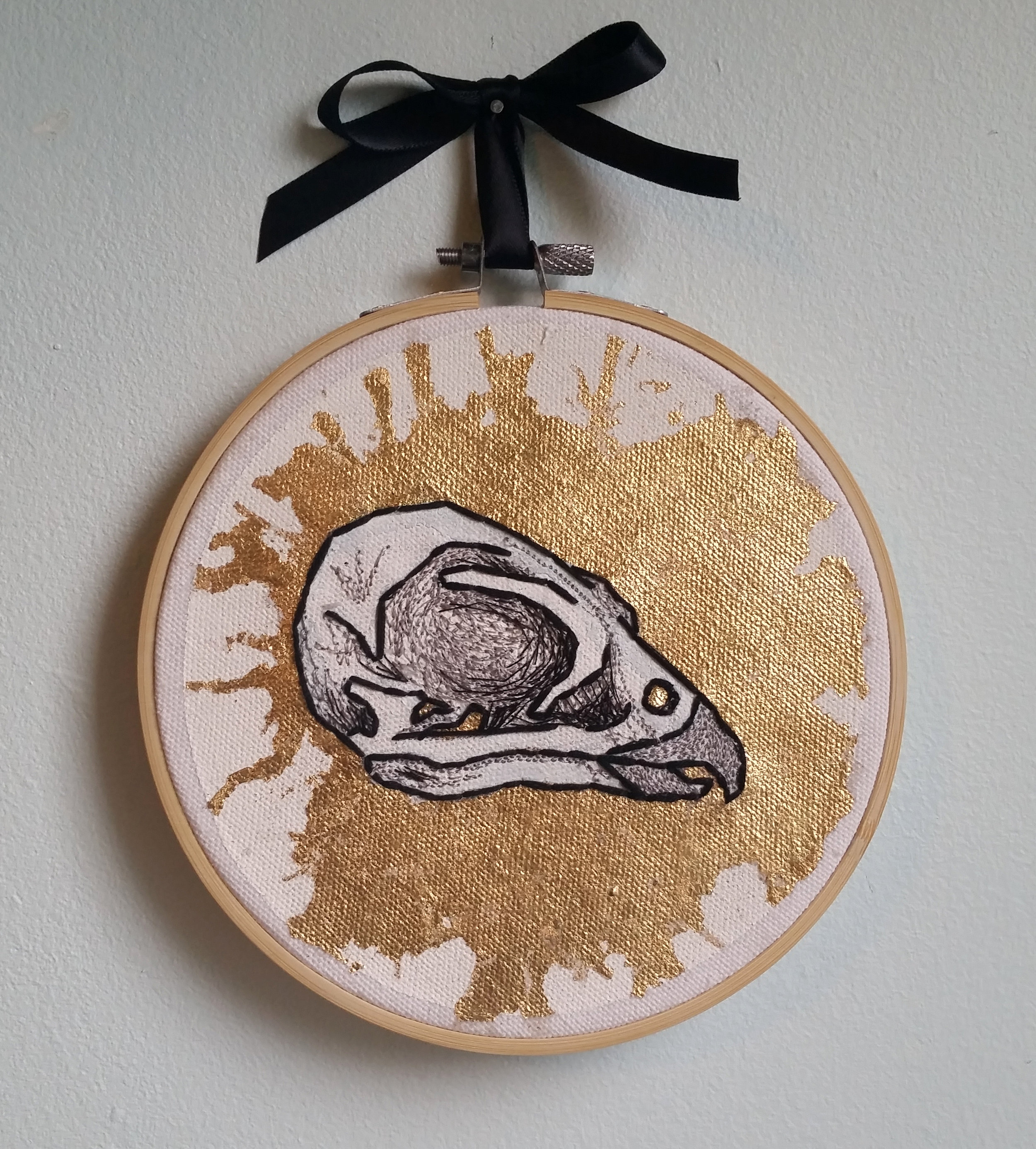 "Falco peregrinus (Peregrine falcon) , metal leaf, thread, and embroidery floss on canvas, 6"" x 6"", $300"