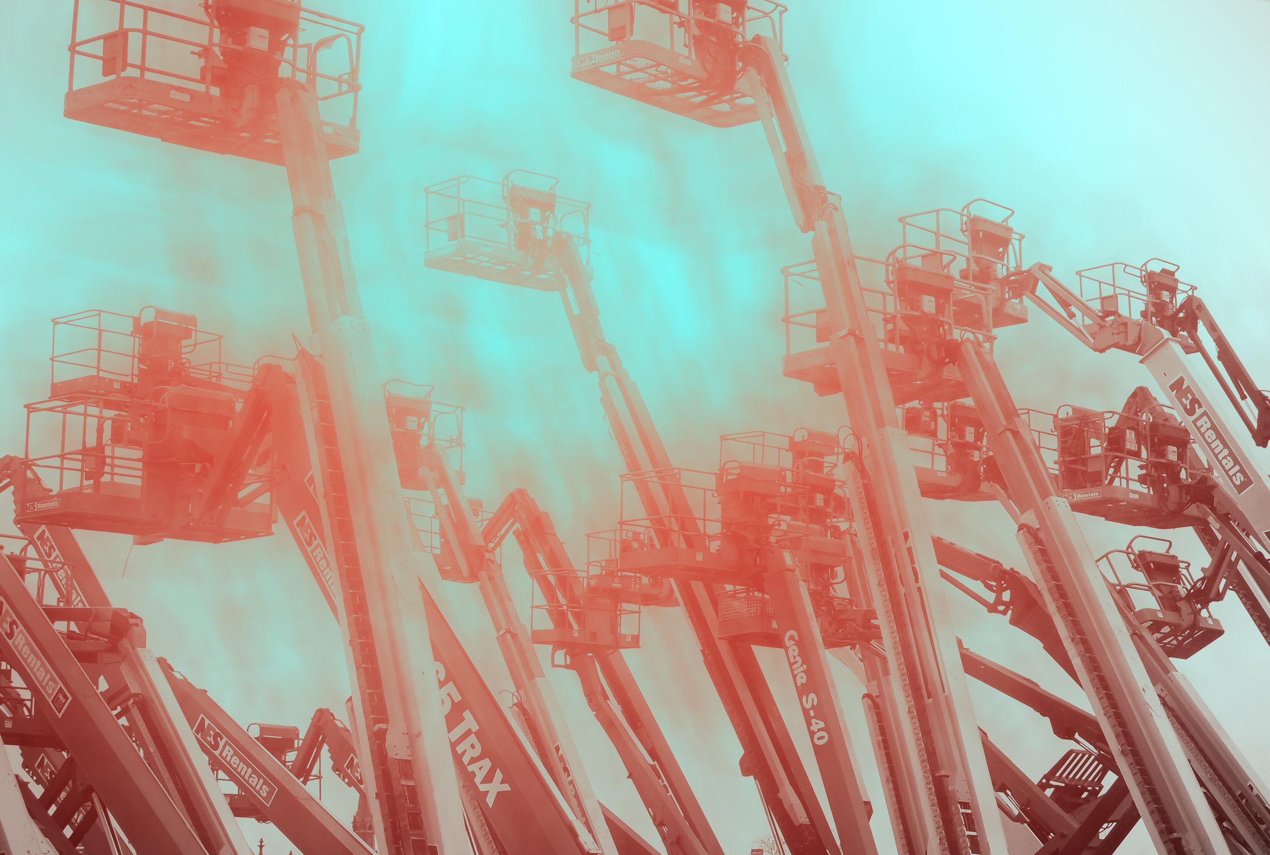 "Jeffrey Heyne ,  Cranes with Vermilion and Phthalo Blue 6:40pm, digital photograph on plexiglass, 16"" x 24"", $1,000"
