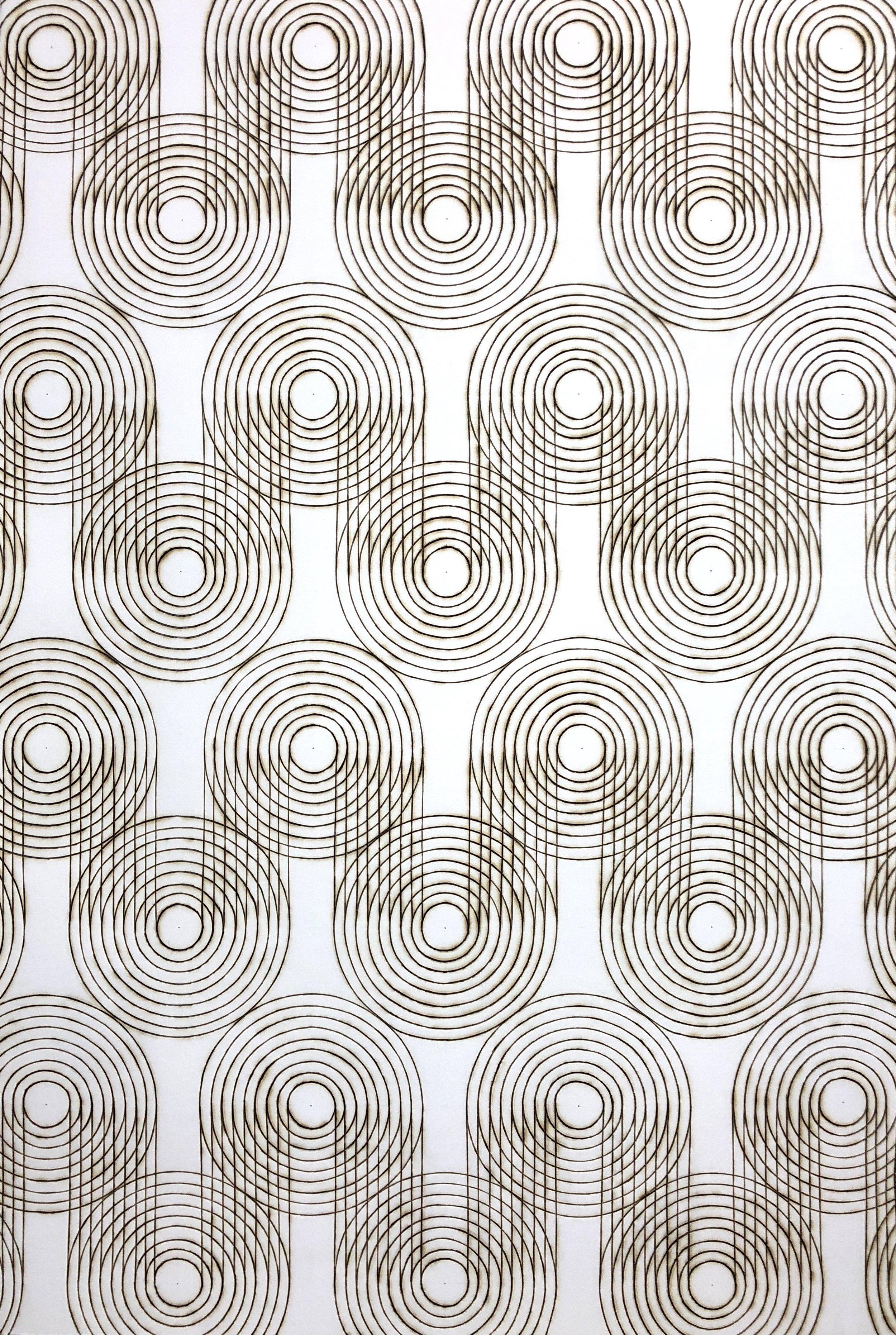 """Katrine Hildebrandt ,  Grid Zag , burnt lines on paper, 35 1/4"""" x 25 1/4"""" framed, $1,500"""