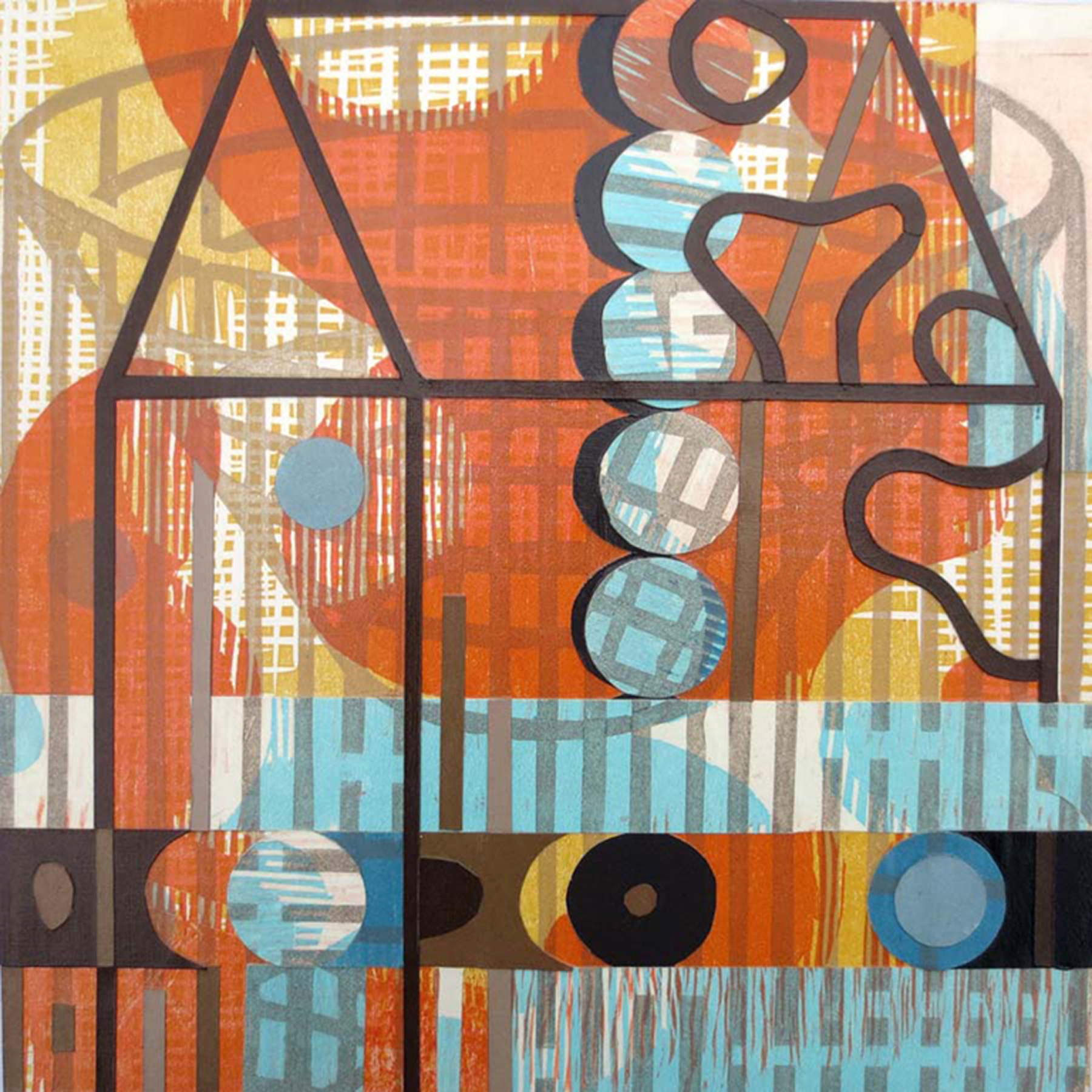 """Julia Talcott ,  Camouflaged House Trap , collaged woodcut and linocut print, 12"""" x 12"""", $850"""