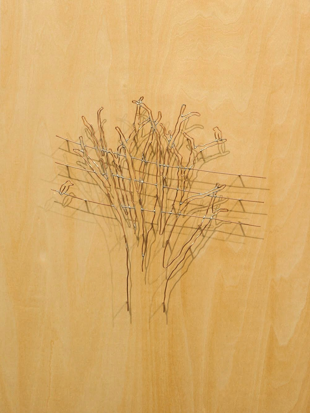 """Rachel Mello ,  More Alike Than Different , copper wire on panel, 17 1/2"""" x 13 1/2"""", $750"""