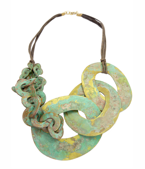 Shipwreck Necklace , green brass with patina, $150