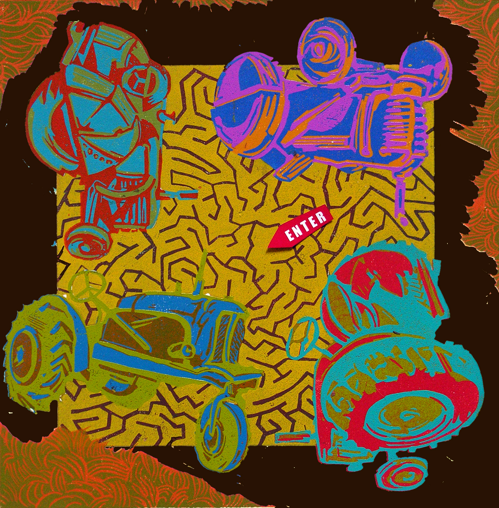 "The Tractor Maze , variable edition, collaged reduction linoleum print on paper, 19 1/4"" x 19 1/4"" framed"