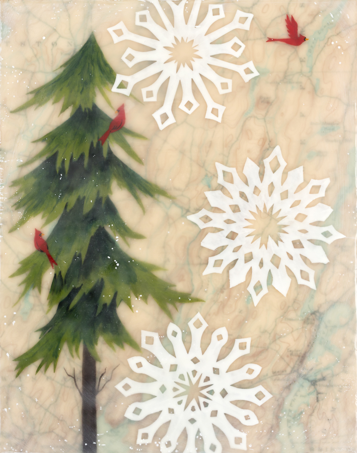 "Flakes , encaustic, paper cuts, gouache, oil stick, map of Wiscasset, Maine area, mounted on birch panel, reclaimed beach fence frame, 8 1/2"" x 10 1/2"" framed, $225"