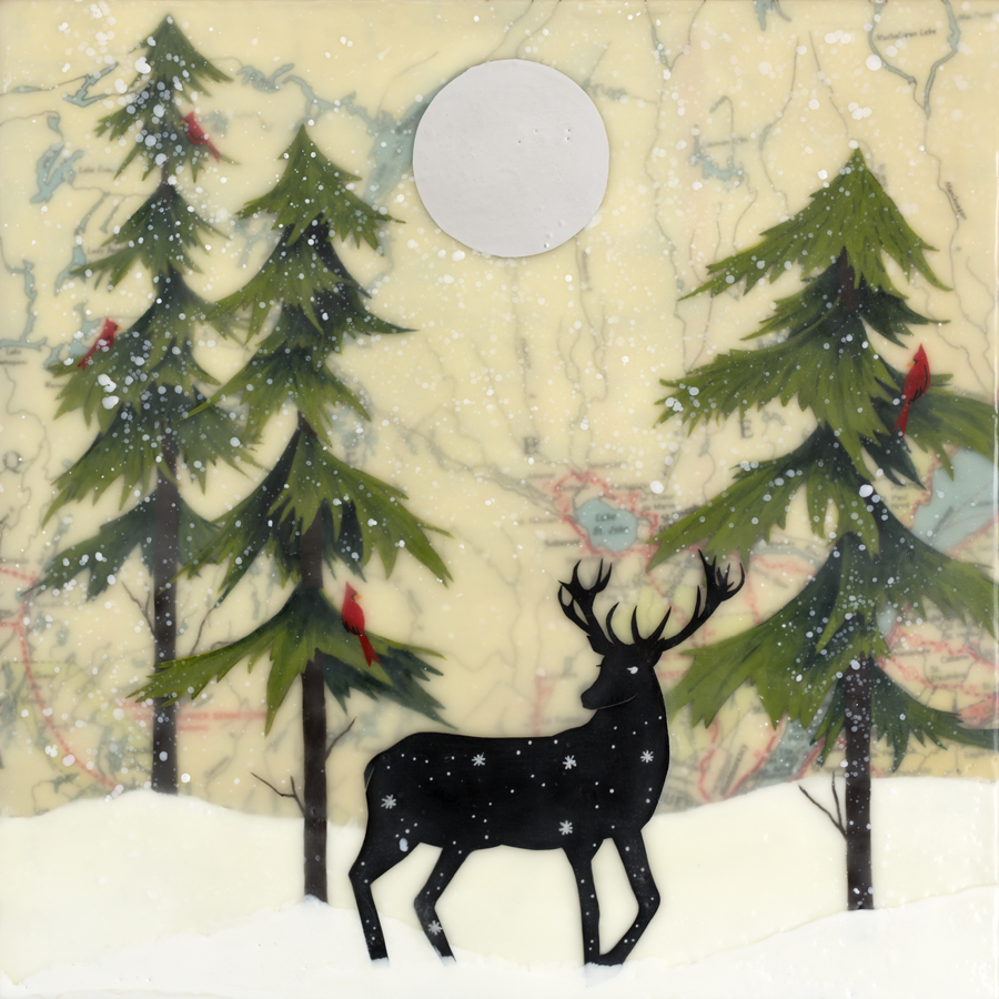 """Amy Keller ,  Winter Solstice , encaustic, paper cuts, gouache, aluminum powder, map of Quebec, Canada area, mounted on birch panel with reclaimed beach fence frame, 12 1/2"""" x 12 1/2"""" framed, $425"""