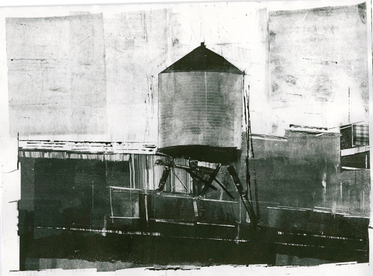 """Robert Maloney ,  Highwater , monotype on Rives BFK, 16"""" x 20"""" framed, $300"""