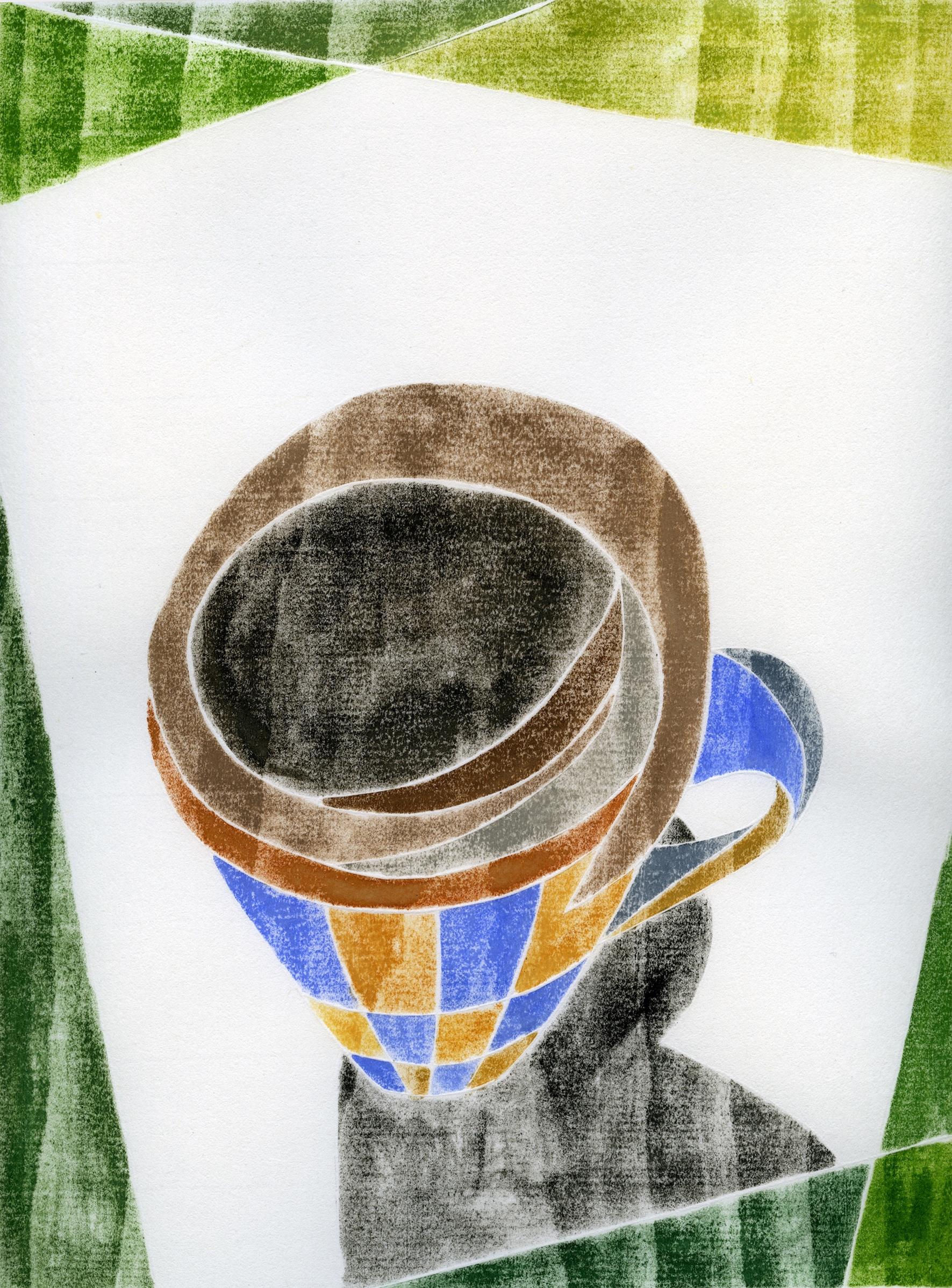 "Coffee Break (14.1) , white line woodcut monoprint, 18"" x 15"" framed, $300"