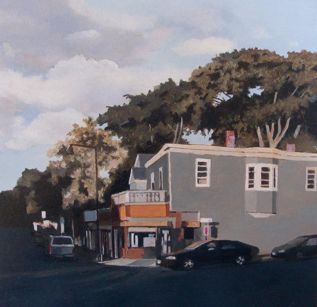 """Kate Sullivan ,  Norfolk Street Laundromat , oil on board, 10 1/4"""" x 10 1/4"""" framed, $800"""