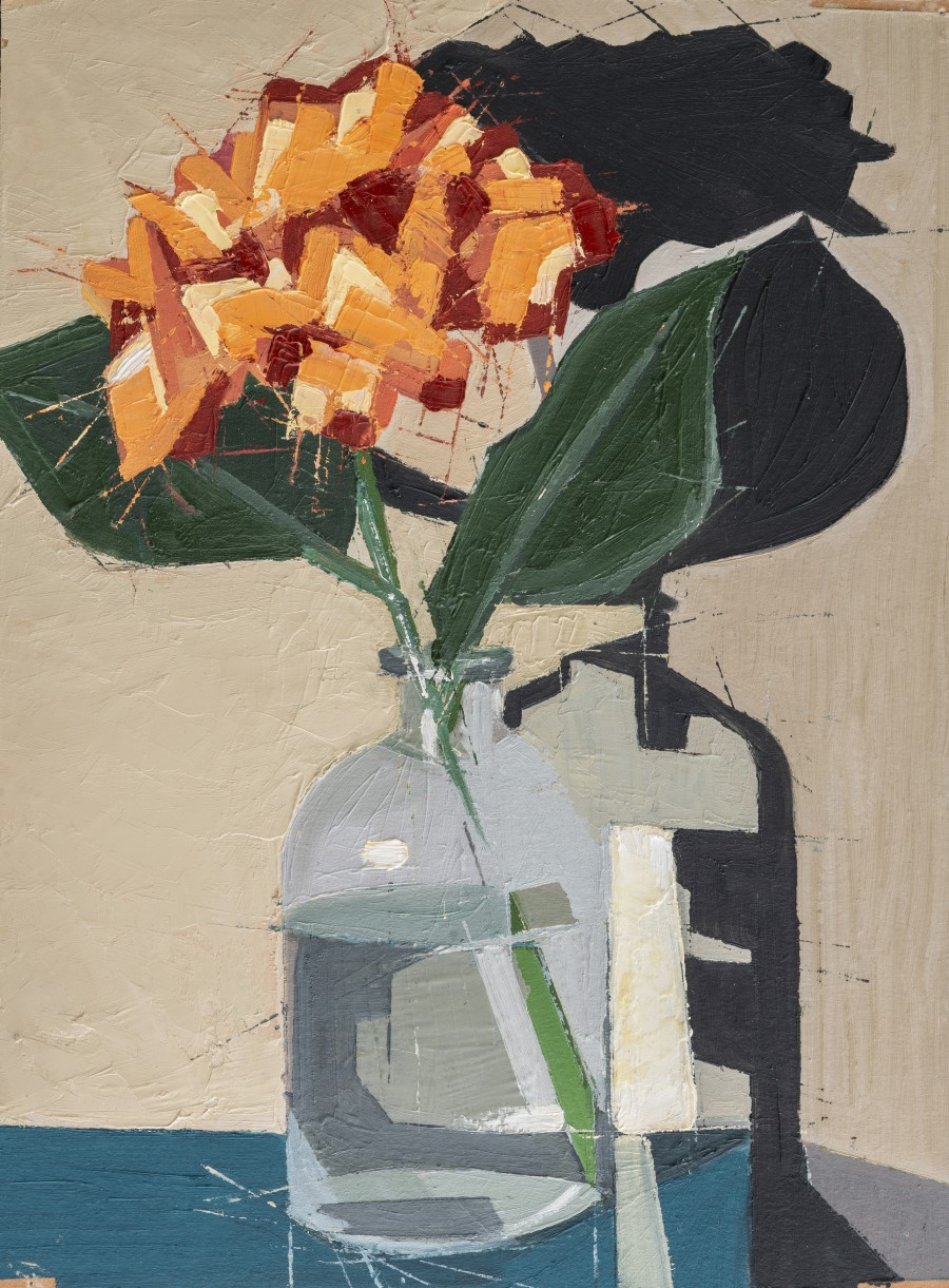 "Carlos Santiago ,  #7 , oil on carton board, 15 3/4"" x 12 3/4"" framed, $850"