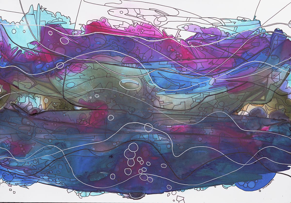 """James C. Varnum,  Sky Water , alcohol inks and ink on Yupo, 19"""" x 25 1/4"""" framed, $800"""