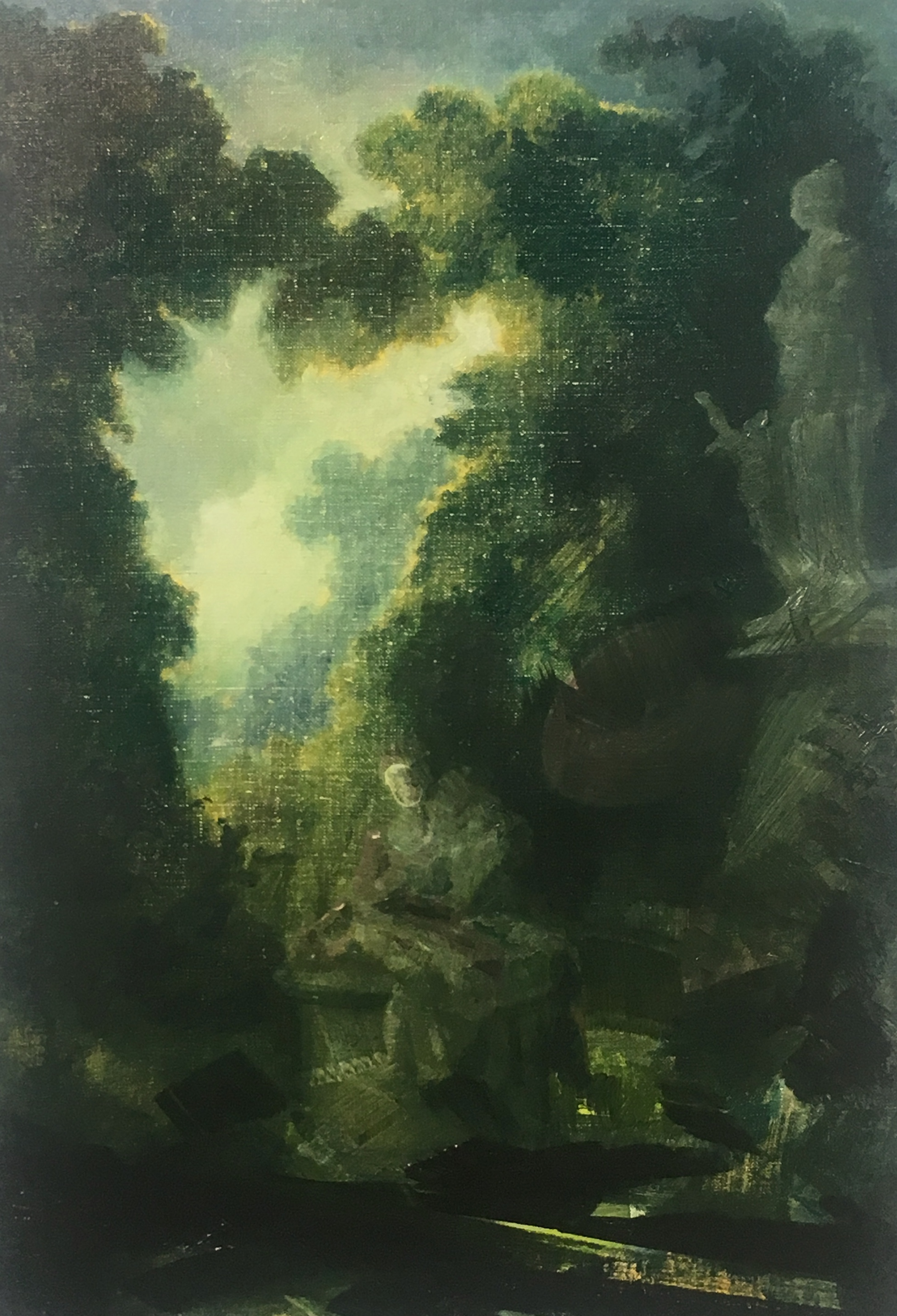 "Wilhelm Neusser ,  Untitled/Fragonard (1838) , oil on linen, 20"" x 14"", $2,400"