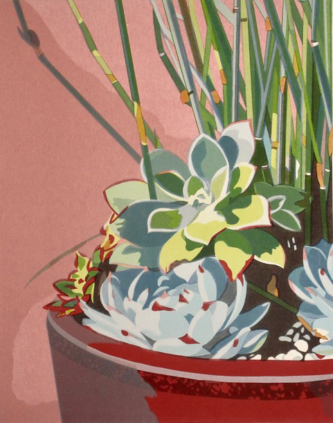 "Still Life with Succulents (3/40) , serigraph, 23"" x 18 3/4"" framed, $525; unframed $325"