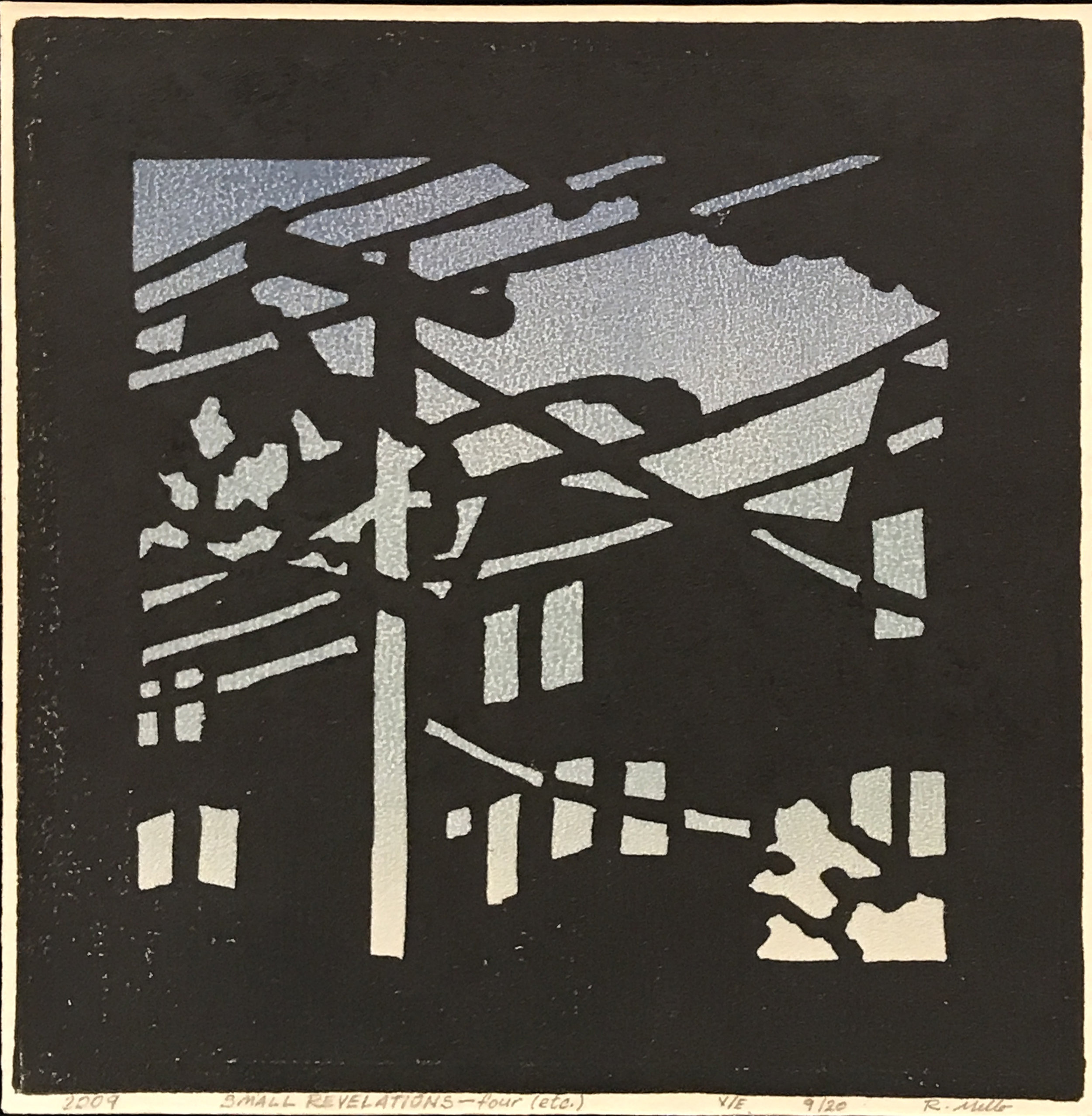 "Small Revelations - four (etc.) (V/E 9/20) , relief print on rice paper, 7 1/2"" x 7 1/2"" x 2"" framed, $125"