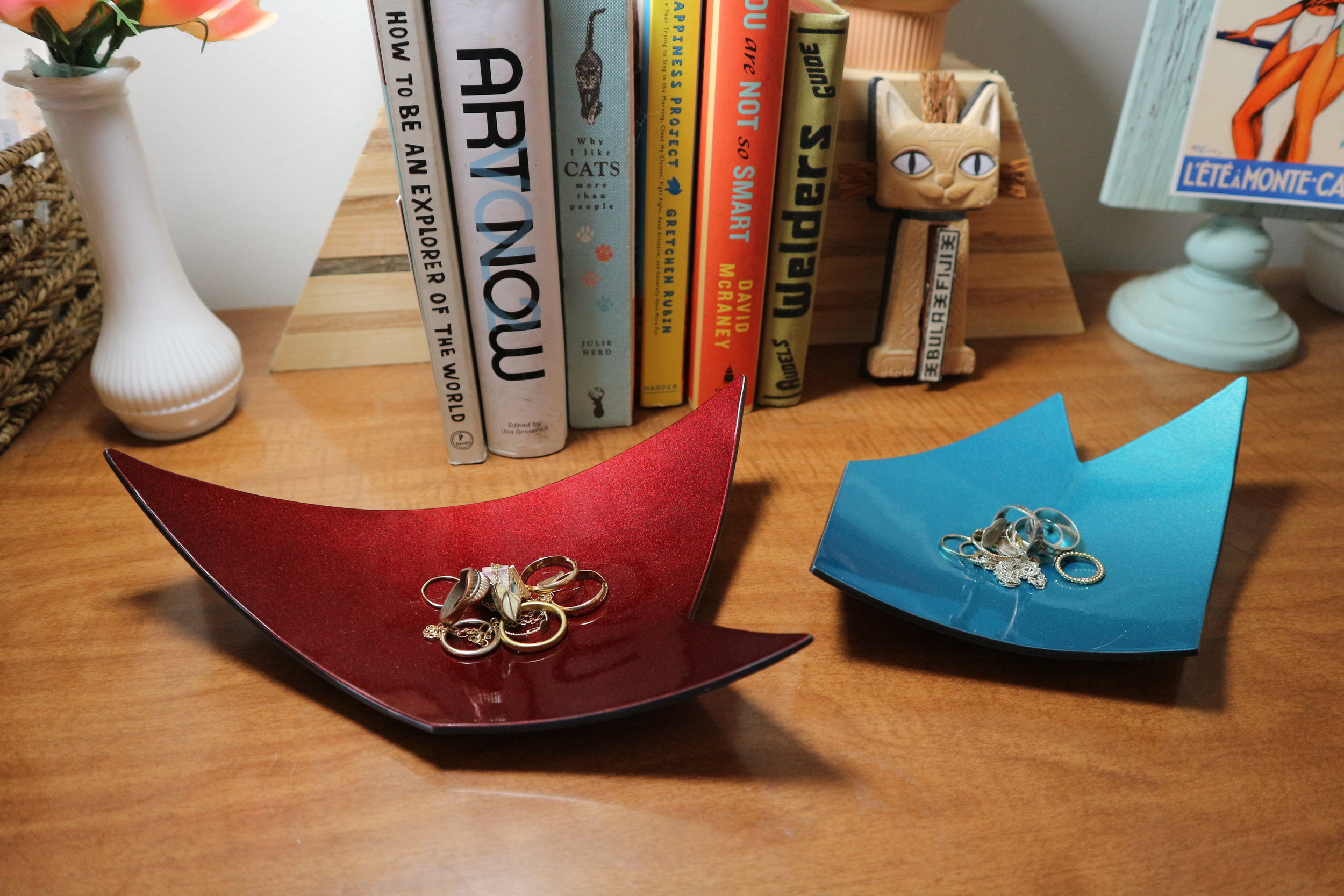 Accessory Bowls , steel with gun blue patina and automotive paint, various shapes and colors, $120