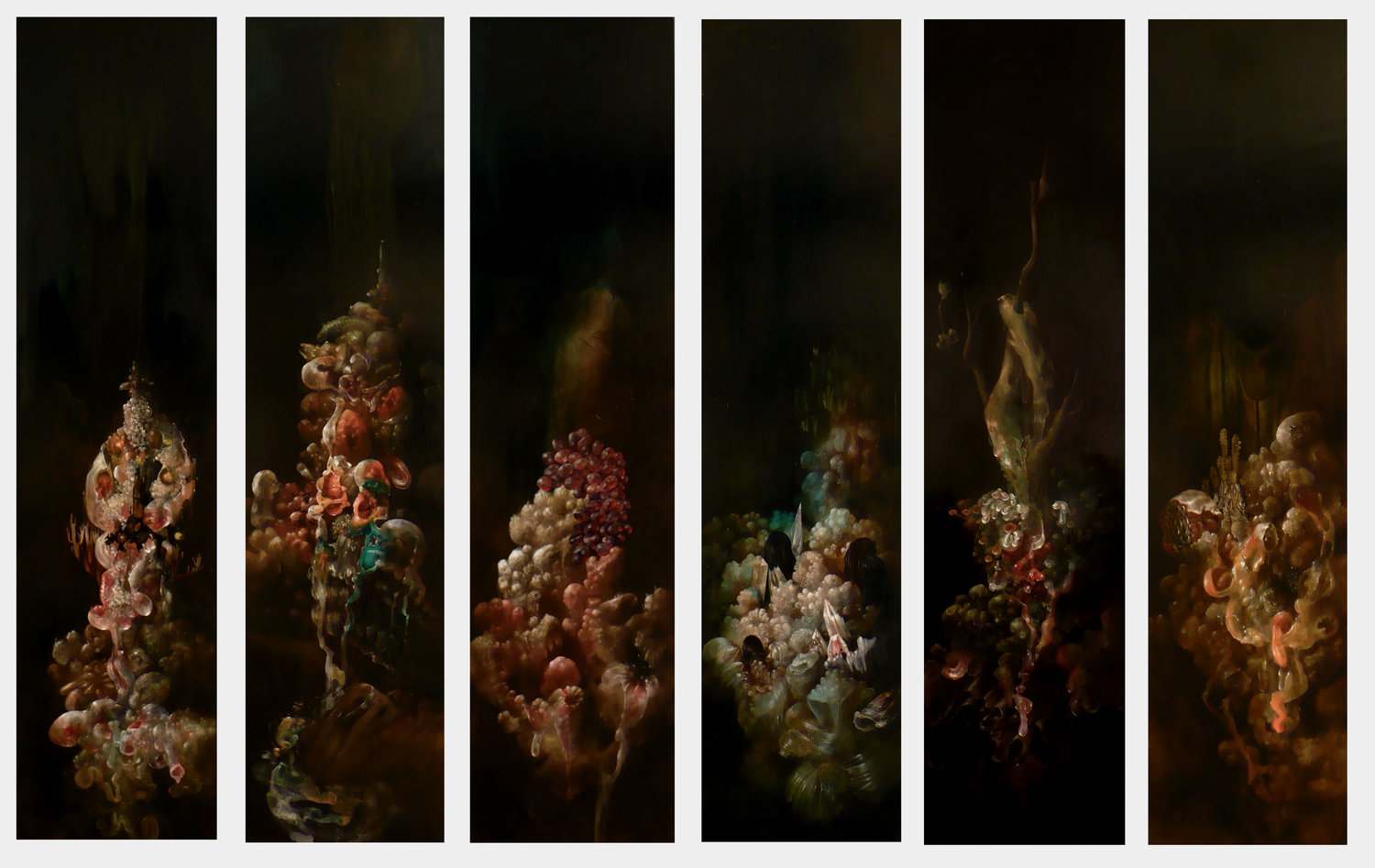 "Hydnellum Myriorama,  acrylic on six panels, 48"" x 12"" each"